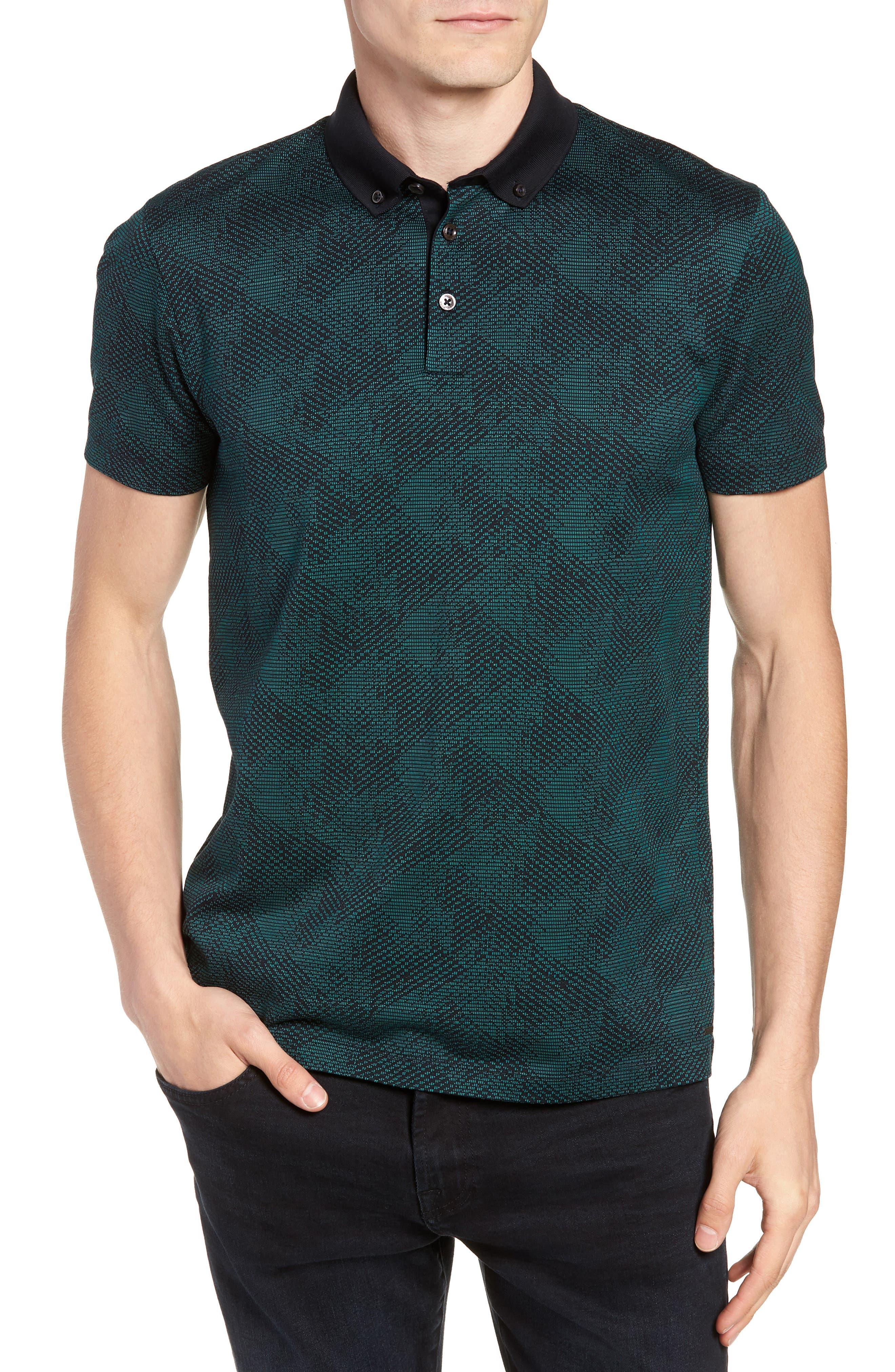 Pitton Slim Fit Jacquard Polo,                         Main,                         color, GREEN
