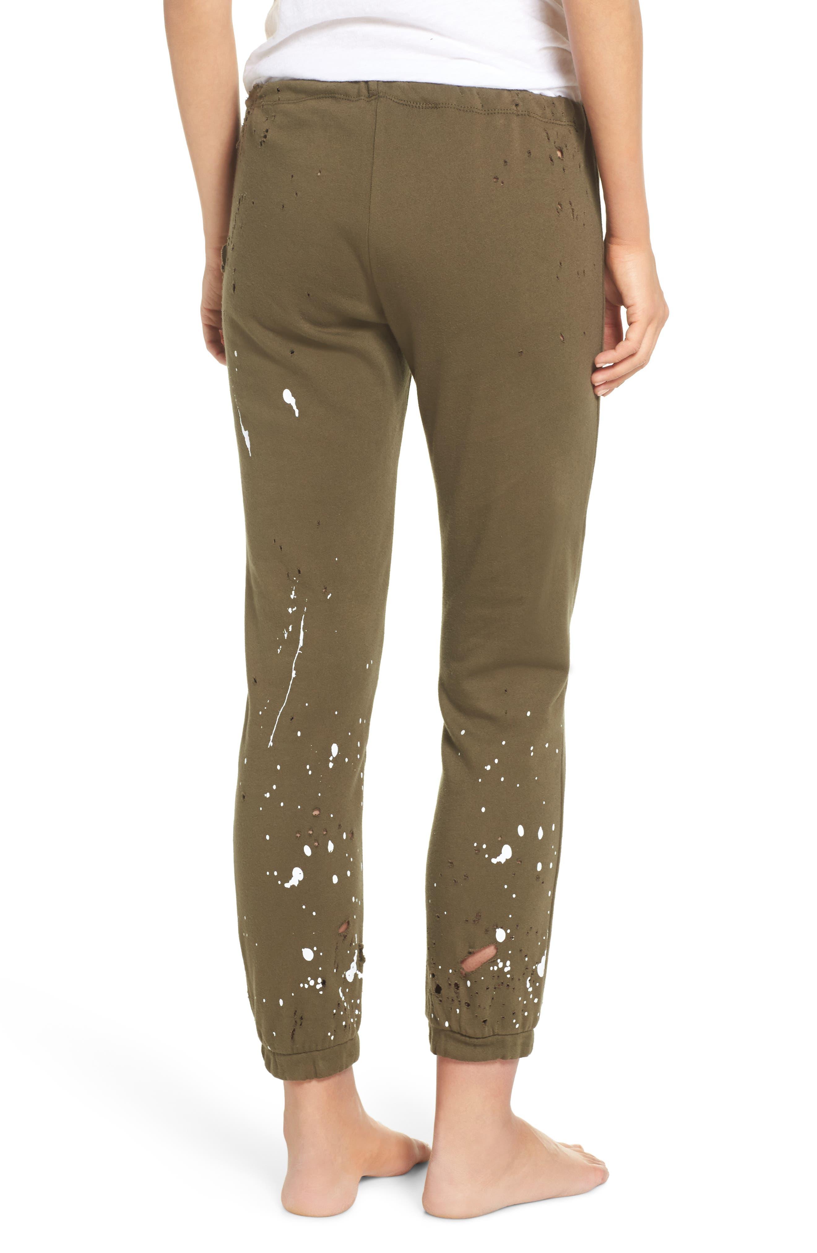 Distressed Fleece Jogger Lounge Pants,                             Alternate thumbnail 4, color,
