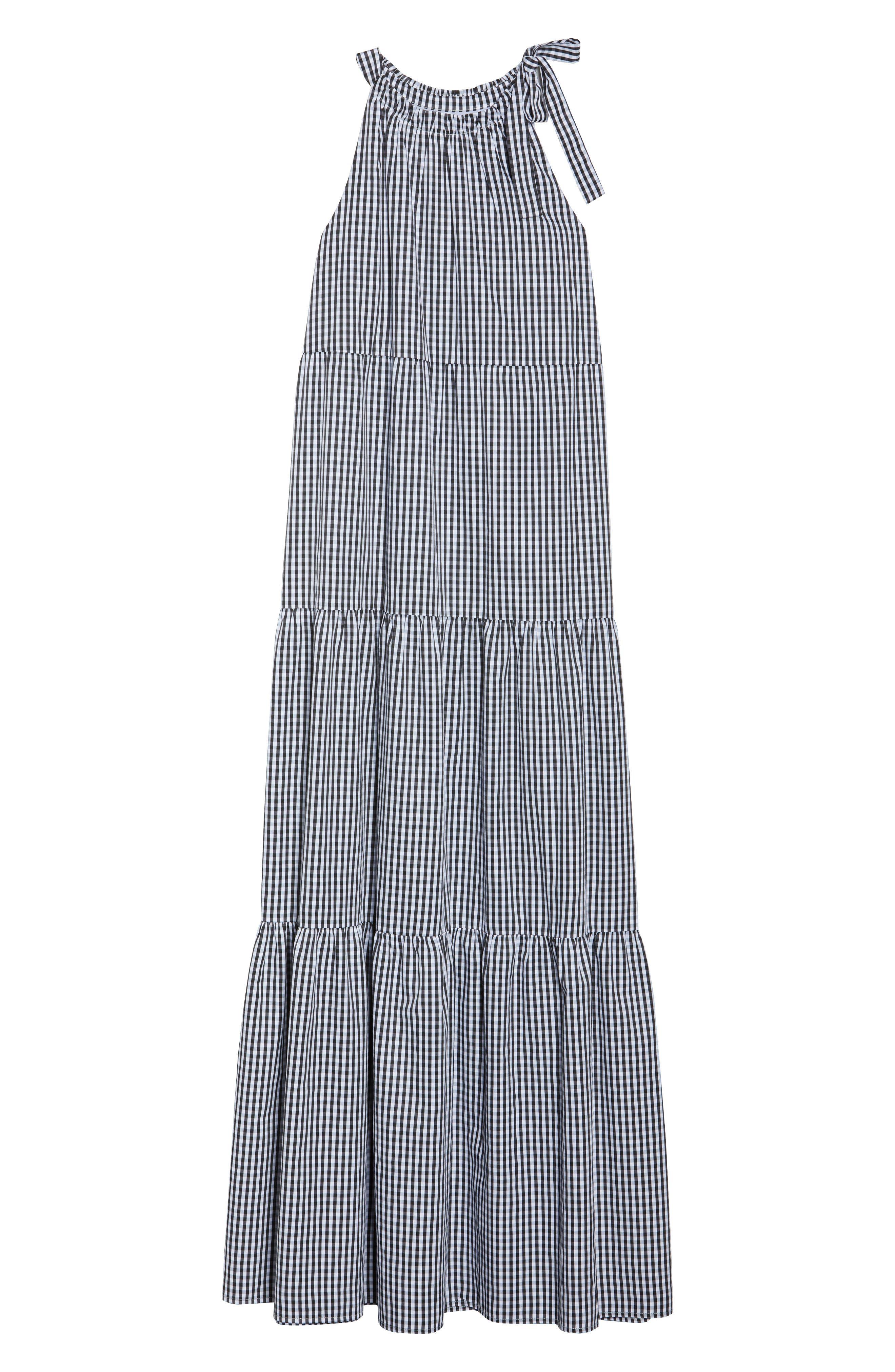 Gingham Check Maxi Dress,                             Alternate thumbnail 7, color,                             100