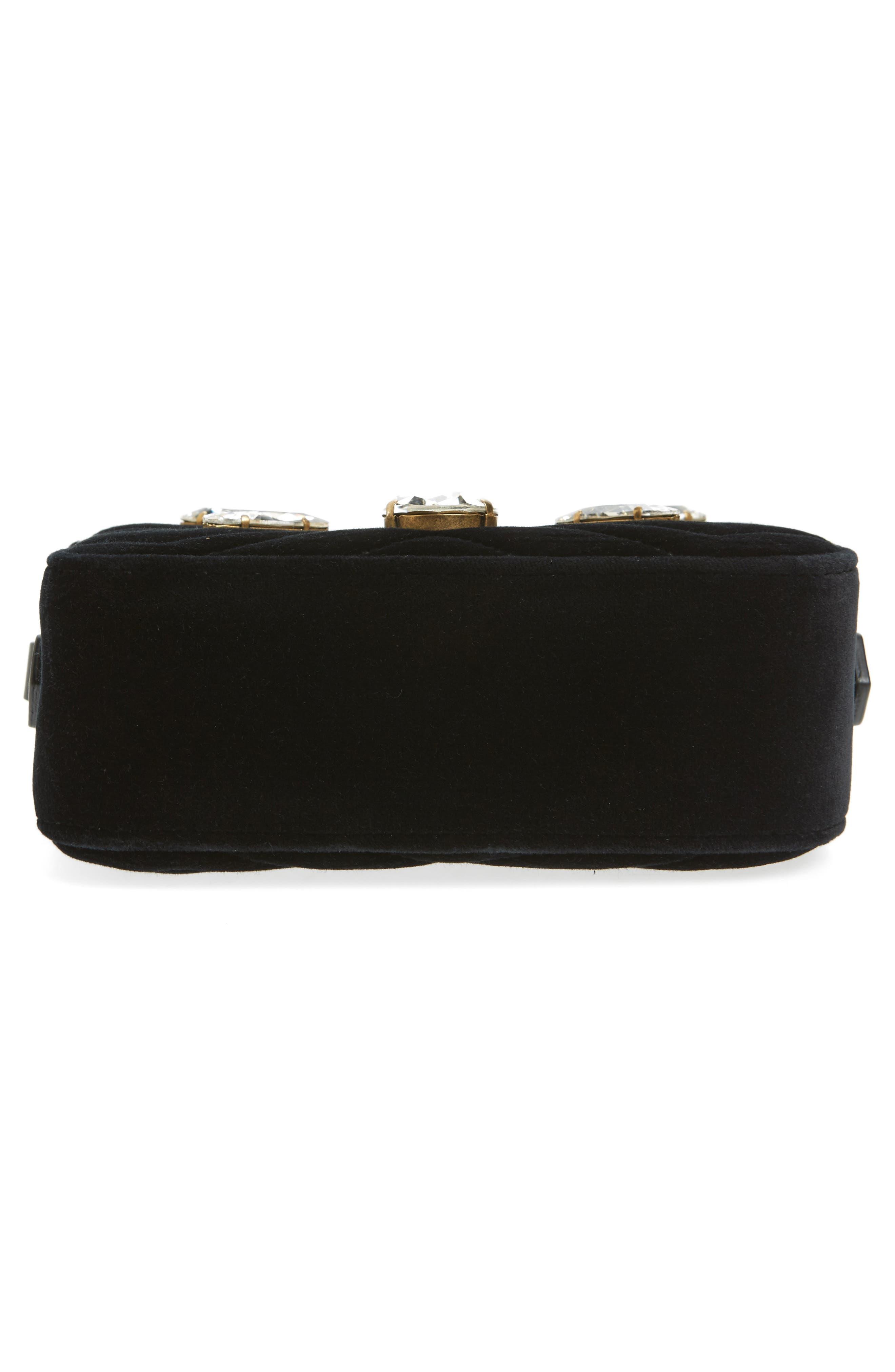 GG Marmont Crystal Matelassé Quilted Velvet Crossbody Bag,                             Alternate thumbnail 6, color,                             001