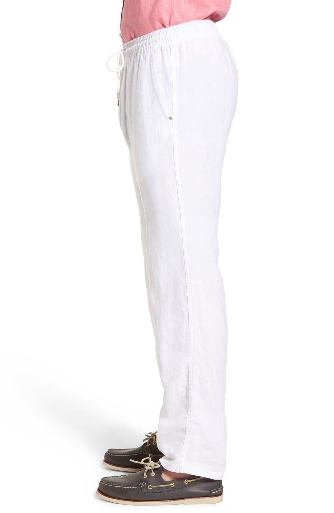 'Classic' Linen Pants,                             Alternate thumbnail 3, color,                             WHITE