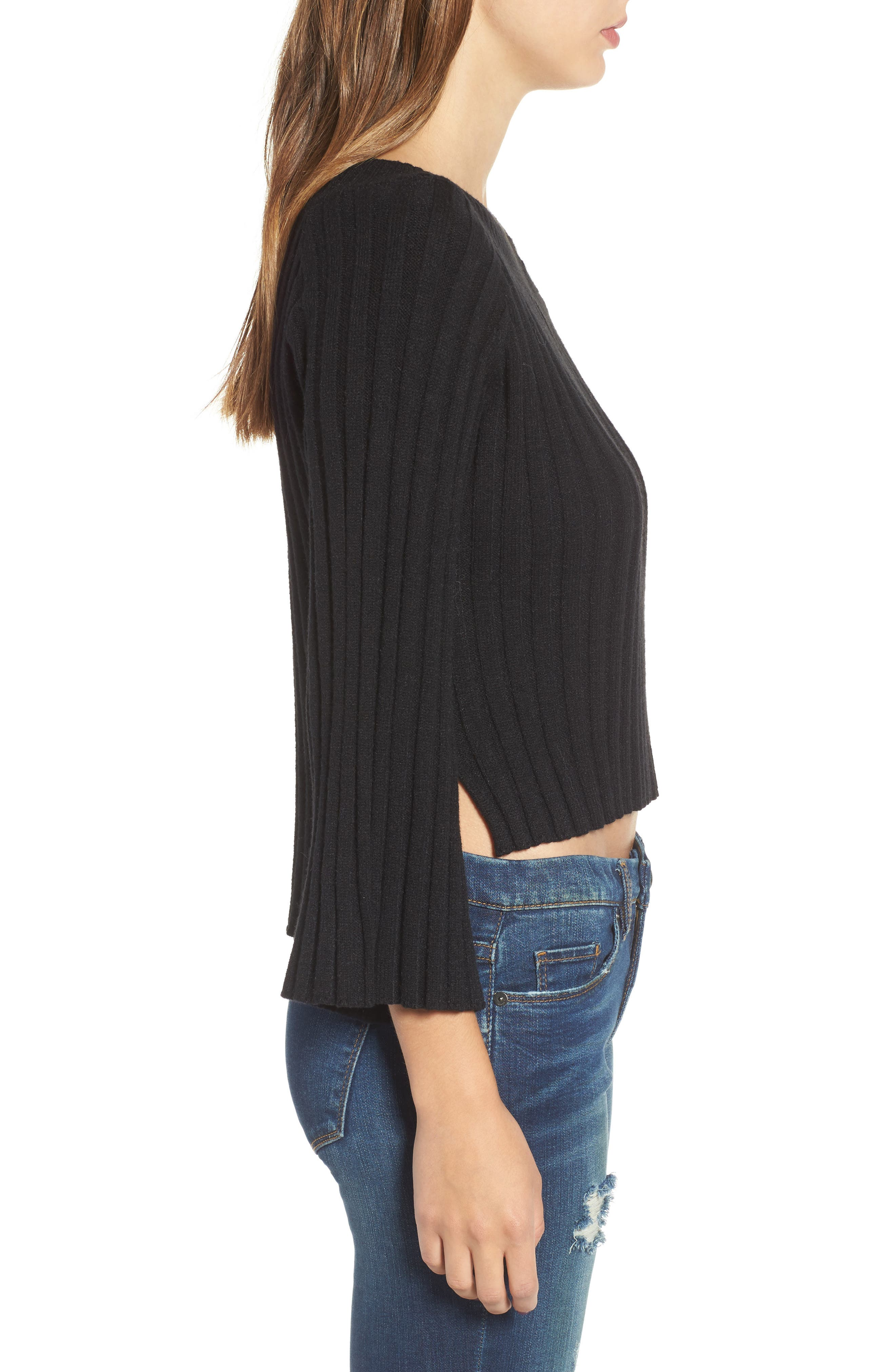 Crop Ribbed Sweater,                             Alternate thumbnail 3, color,                             001
