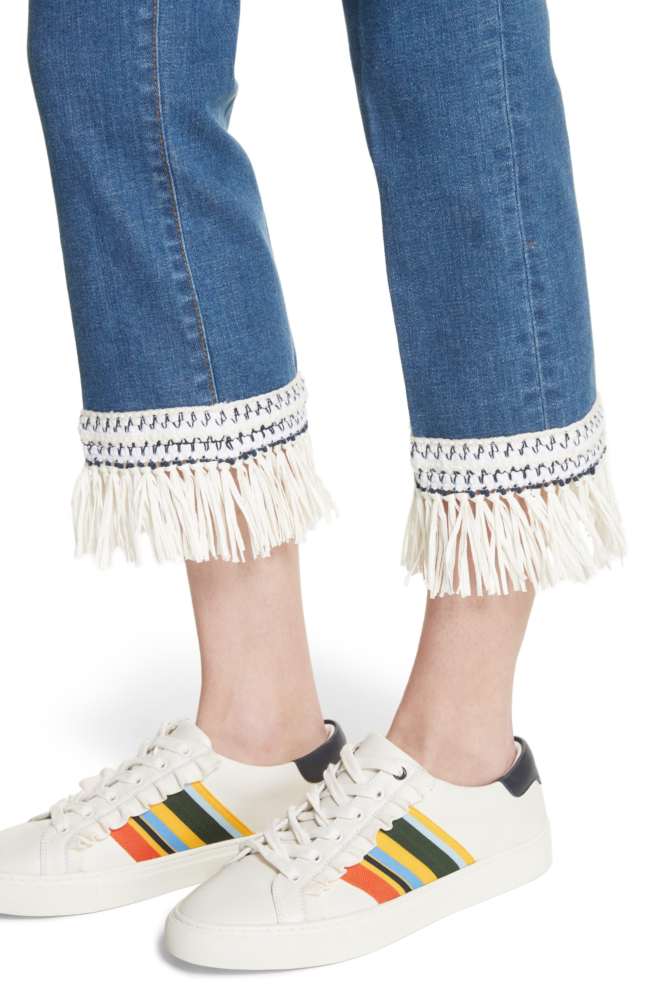 Connor Fringe Trim Crop Jeans,                             Alternate thumbnail 4, color,