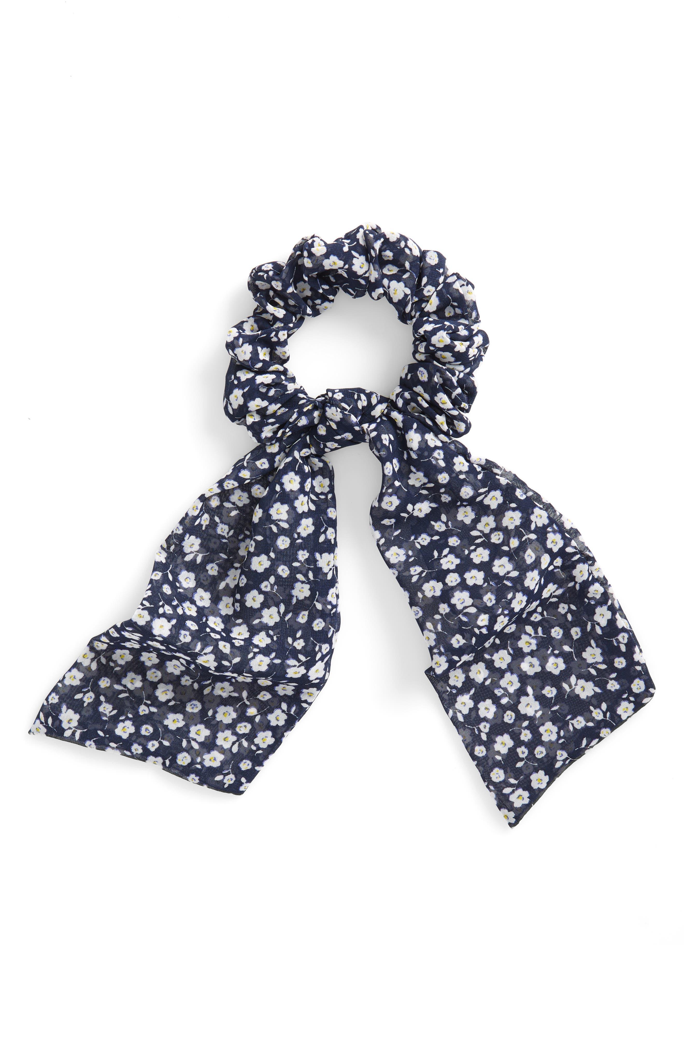 Floral Draped Scrunchie,                         Main,                         color, NAVY