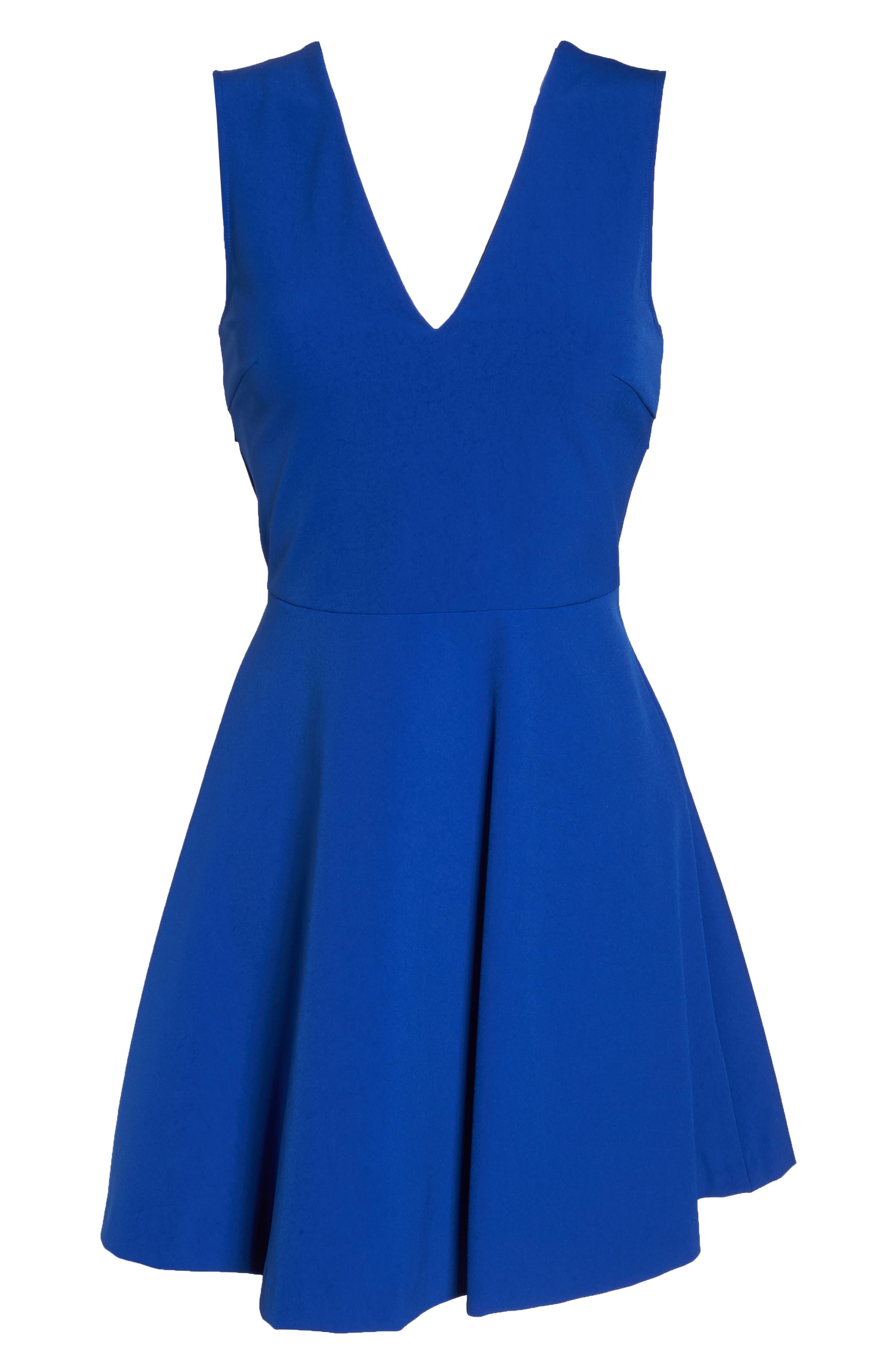 Bianca Back Cutout Fit & Flare Dress,                             Alternate thumbnail 8, color,                             COBALT
