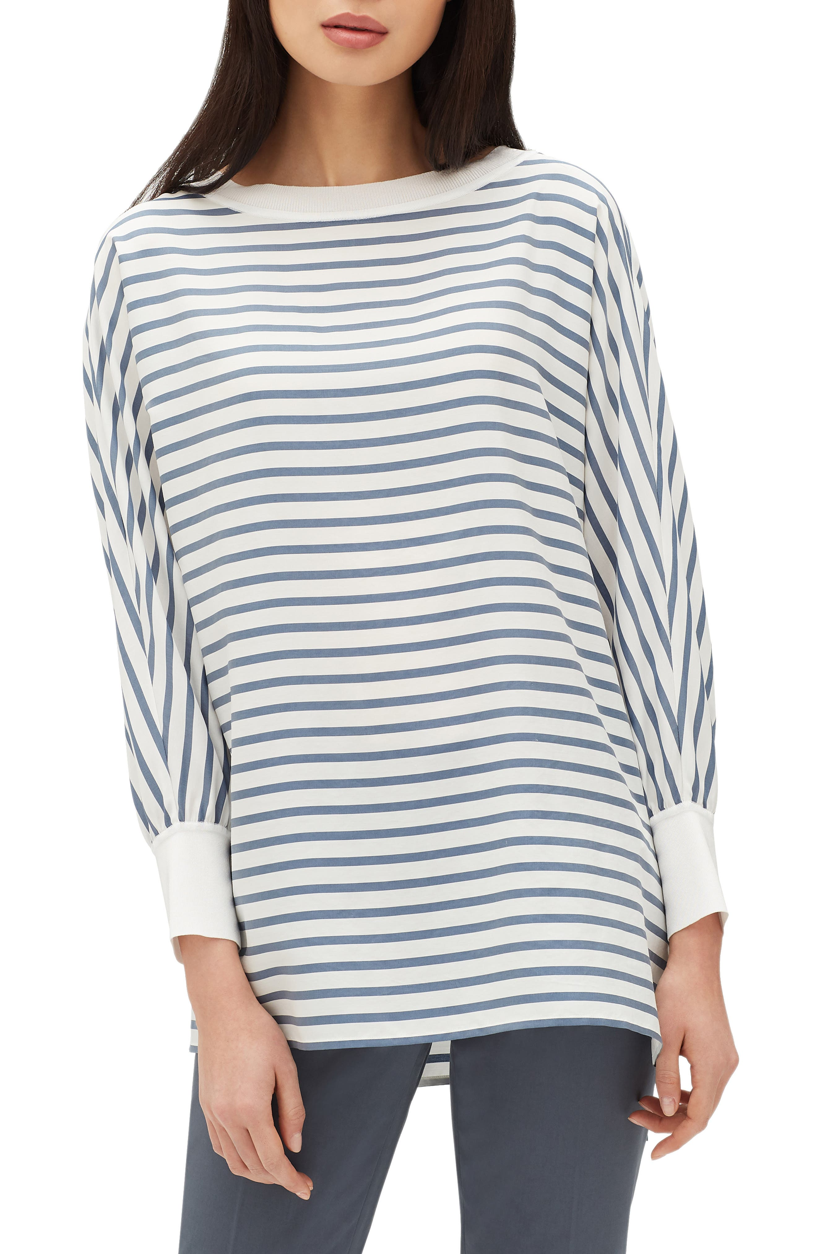 Joplin Stripe Silk Blouse,                         Main,                         color, 400