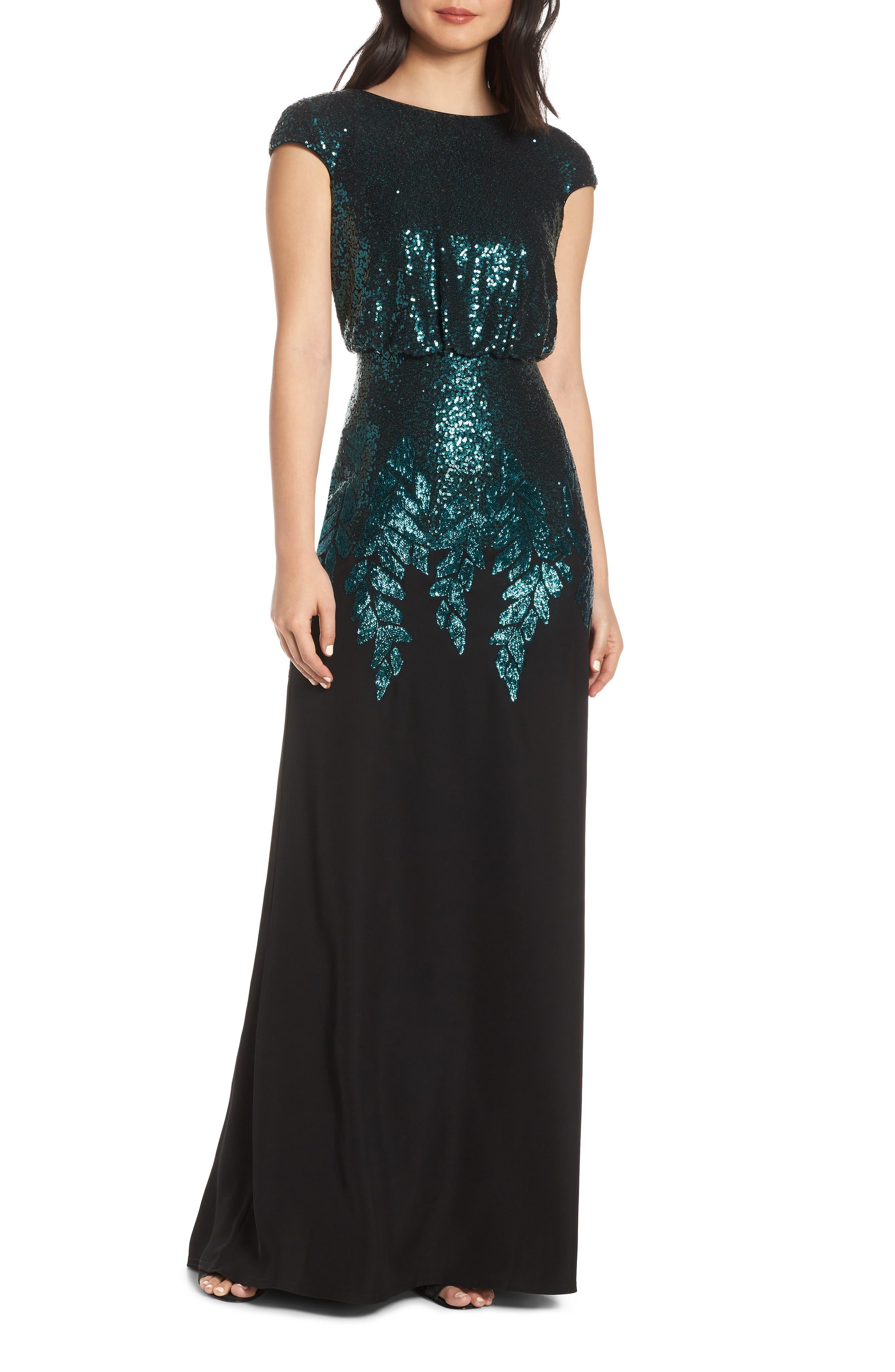 Tadashi Shoji Sequin & Crepe Blouson Evening Dress, Black
