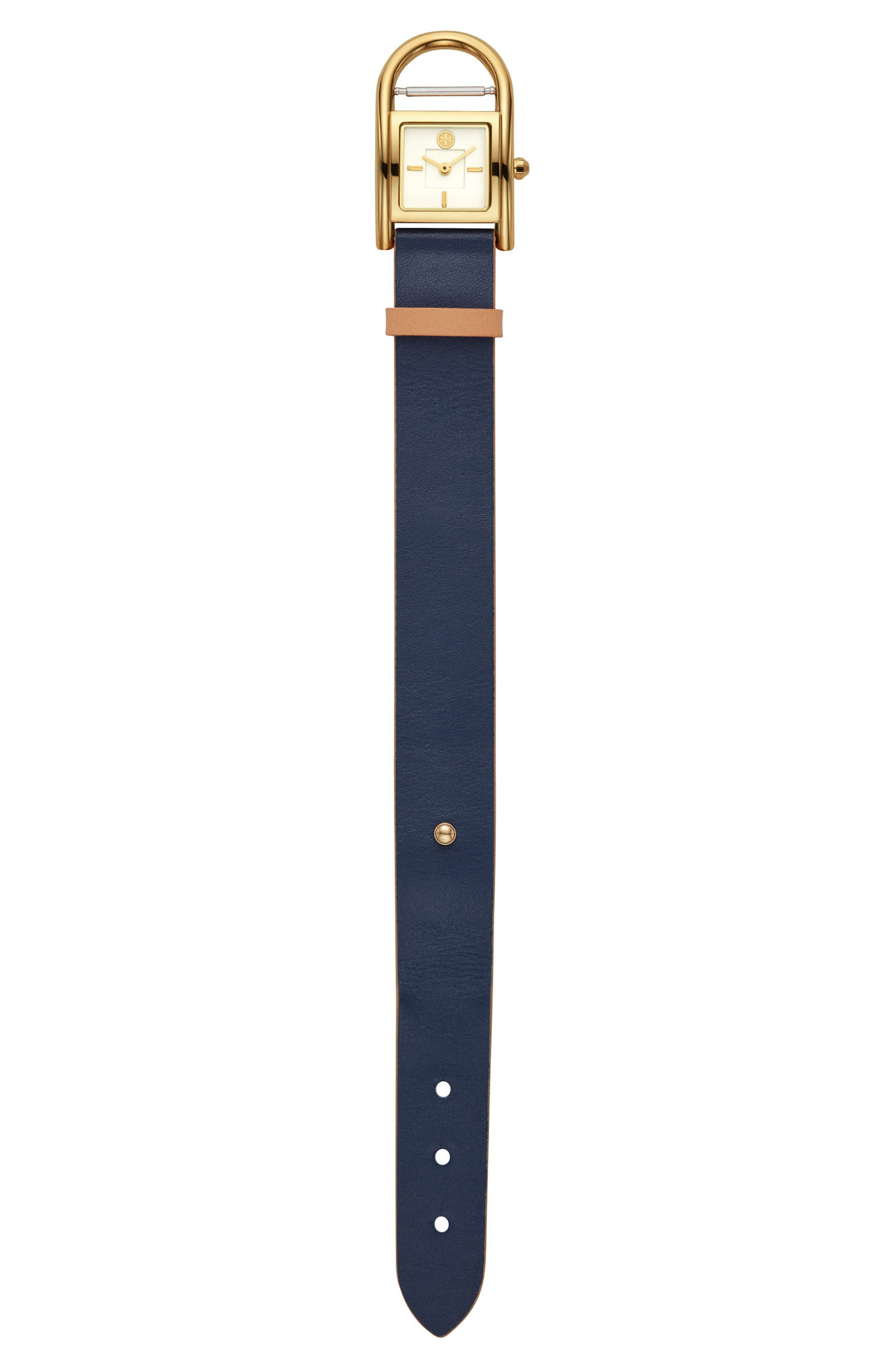 TORY BURCH,                             Thayer Leather Strap Watch, 25mm x 39mm,                             Alternate thumbnail 3, color,                             253