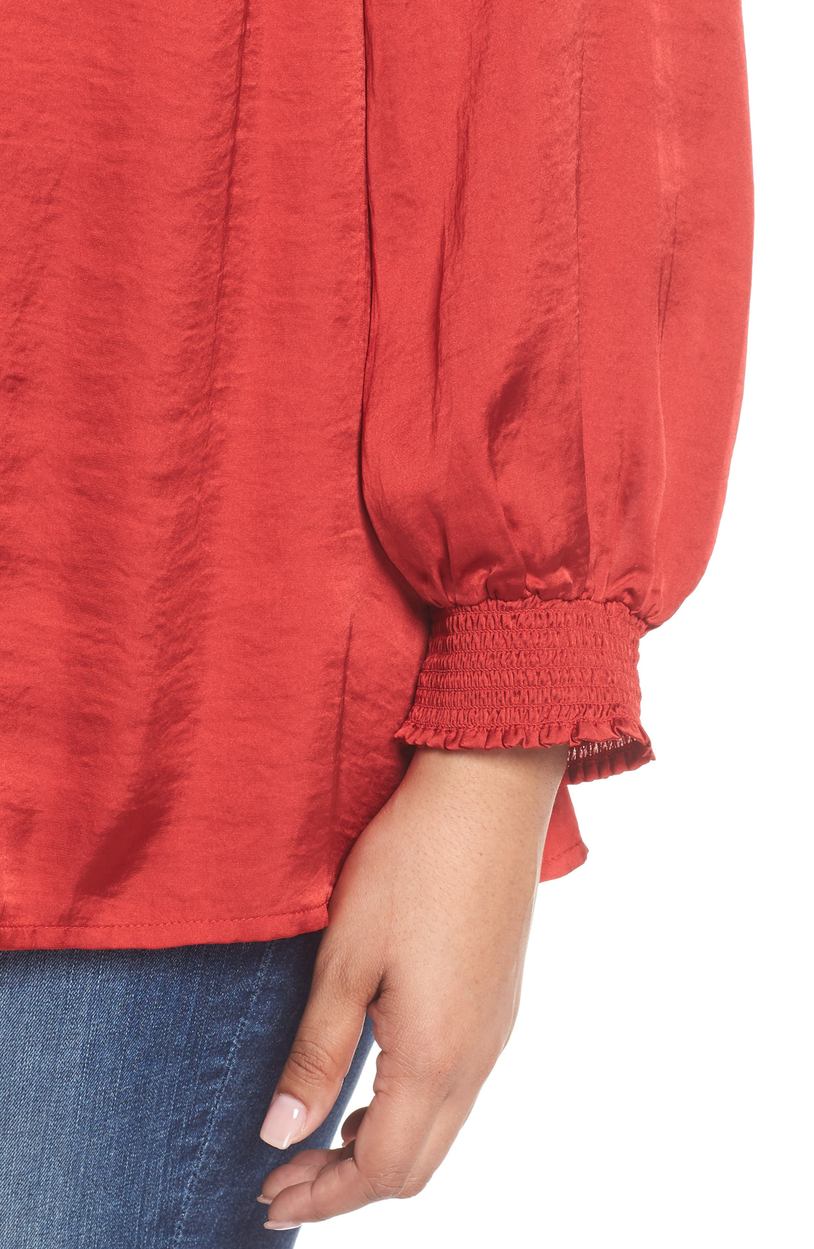 Satin Peasant Top,                             Alternate thumbnail 4, color,                             640