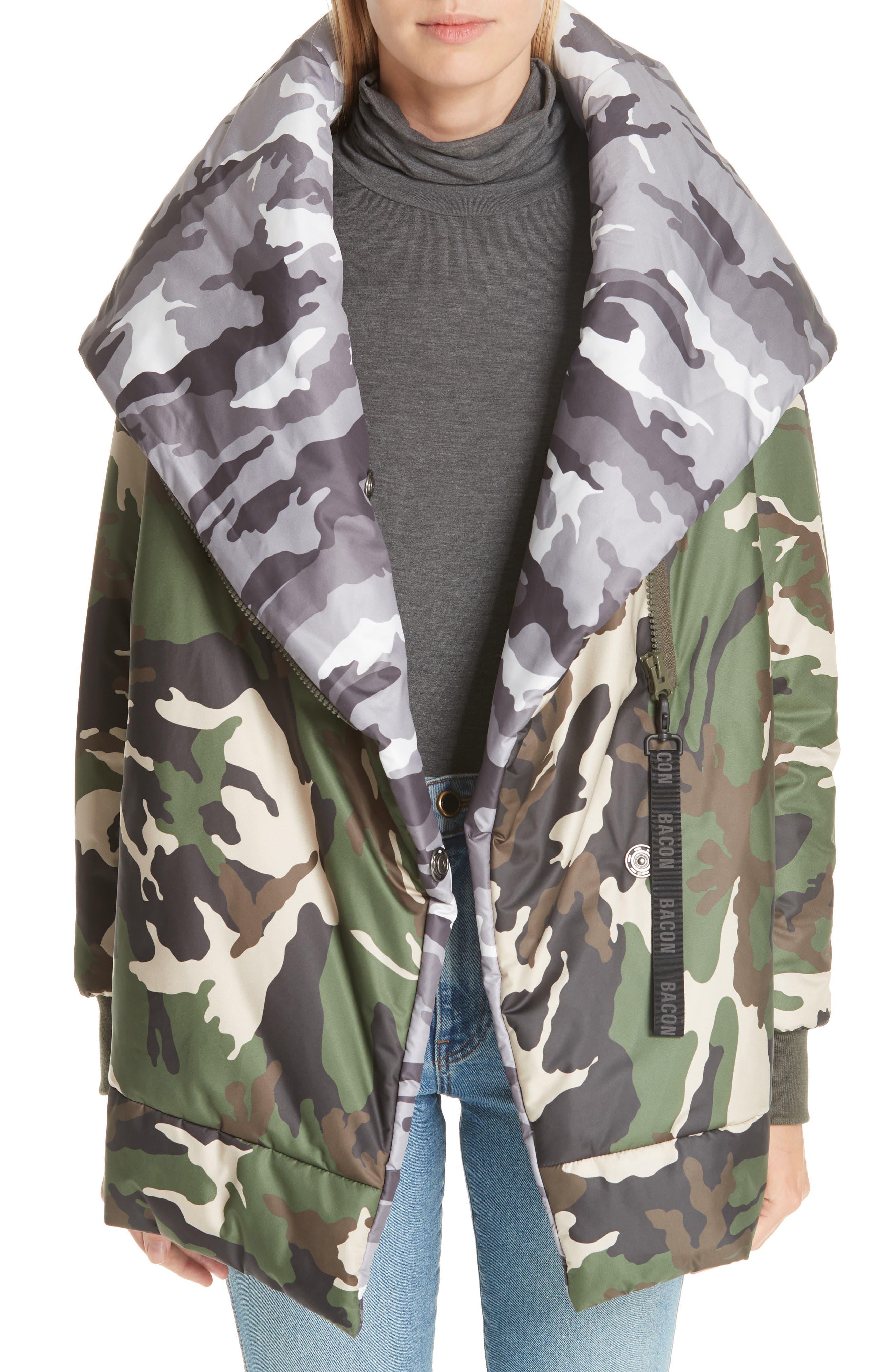 BACON Big Blanket 78 Camo Puffer Coat, Main, color, 300