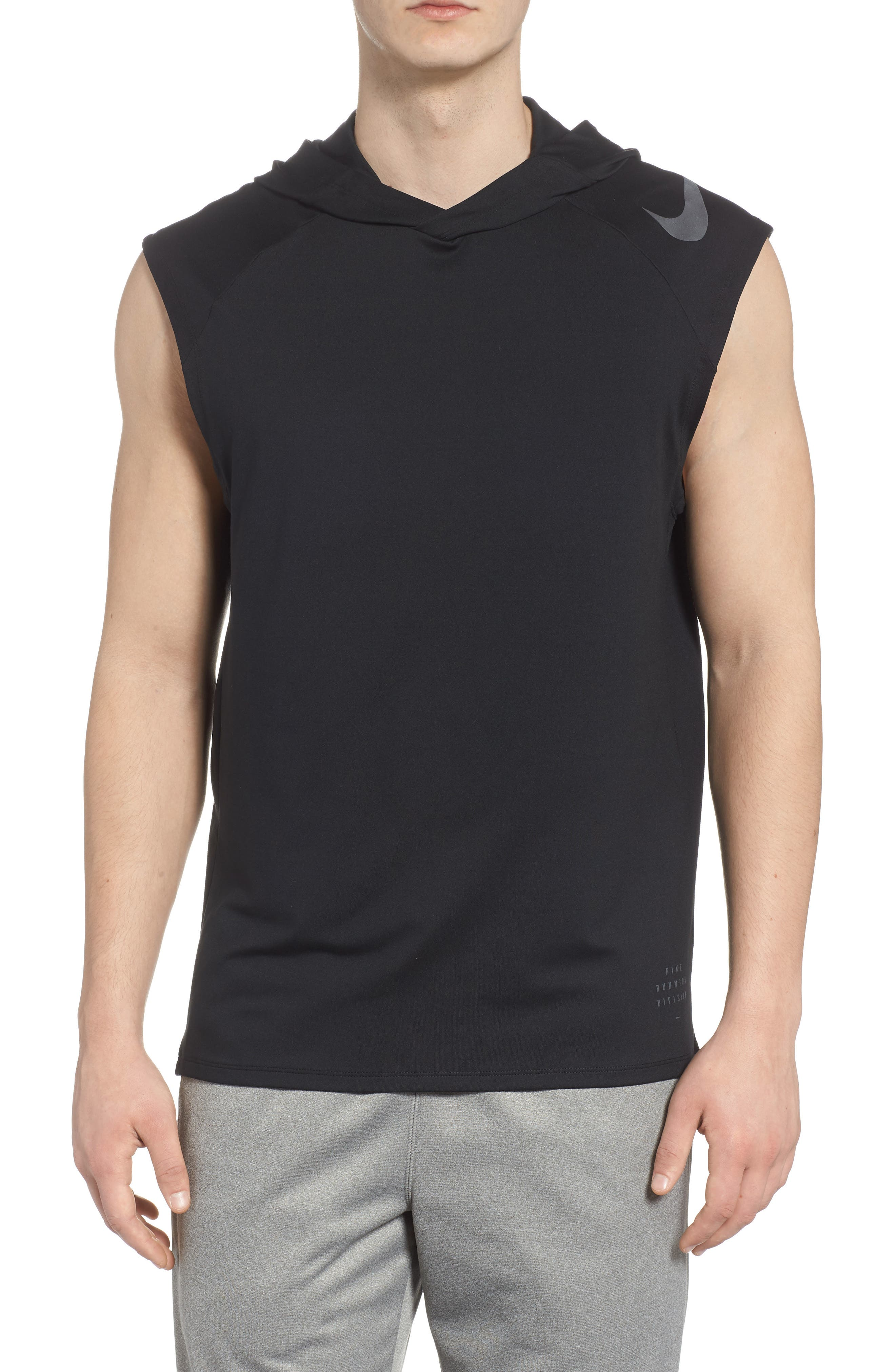 Dry Element Sleeveless Hoodie,                         Main,                         color, BLACK