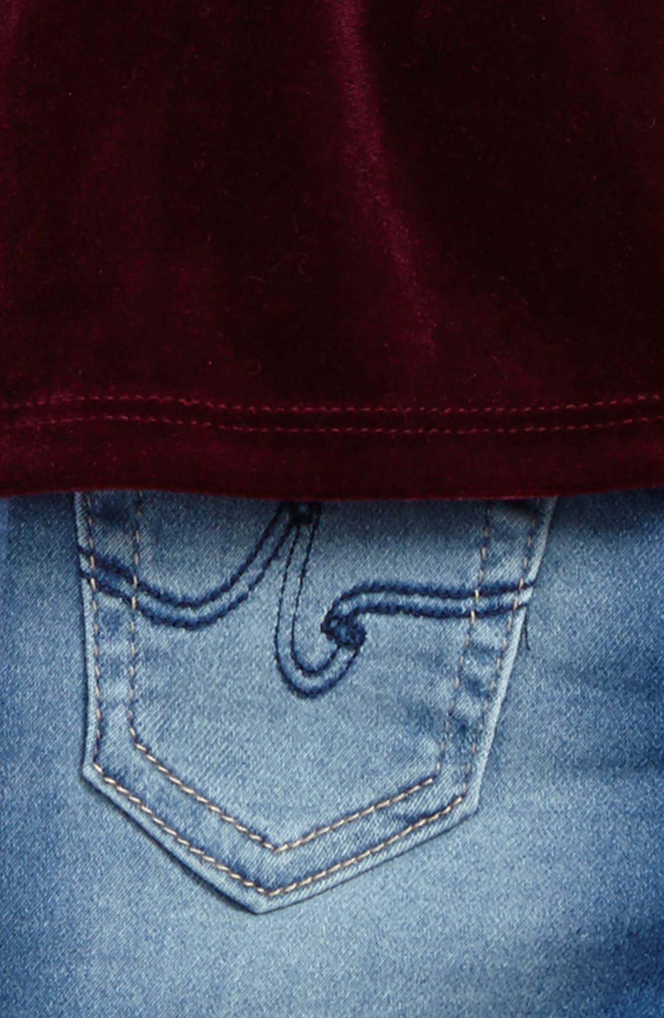 Velvet Top & Knit Jeans Set,                             Alternate thumbnail 3, color,                             409
