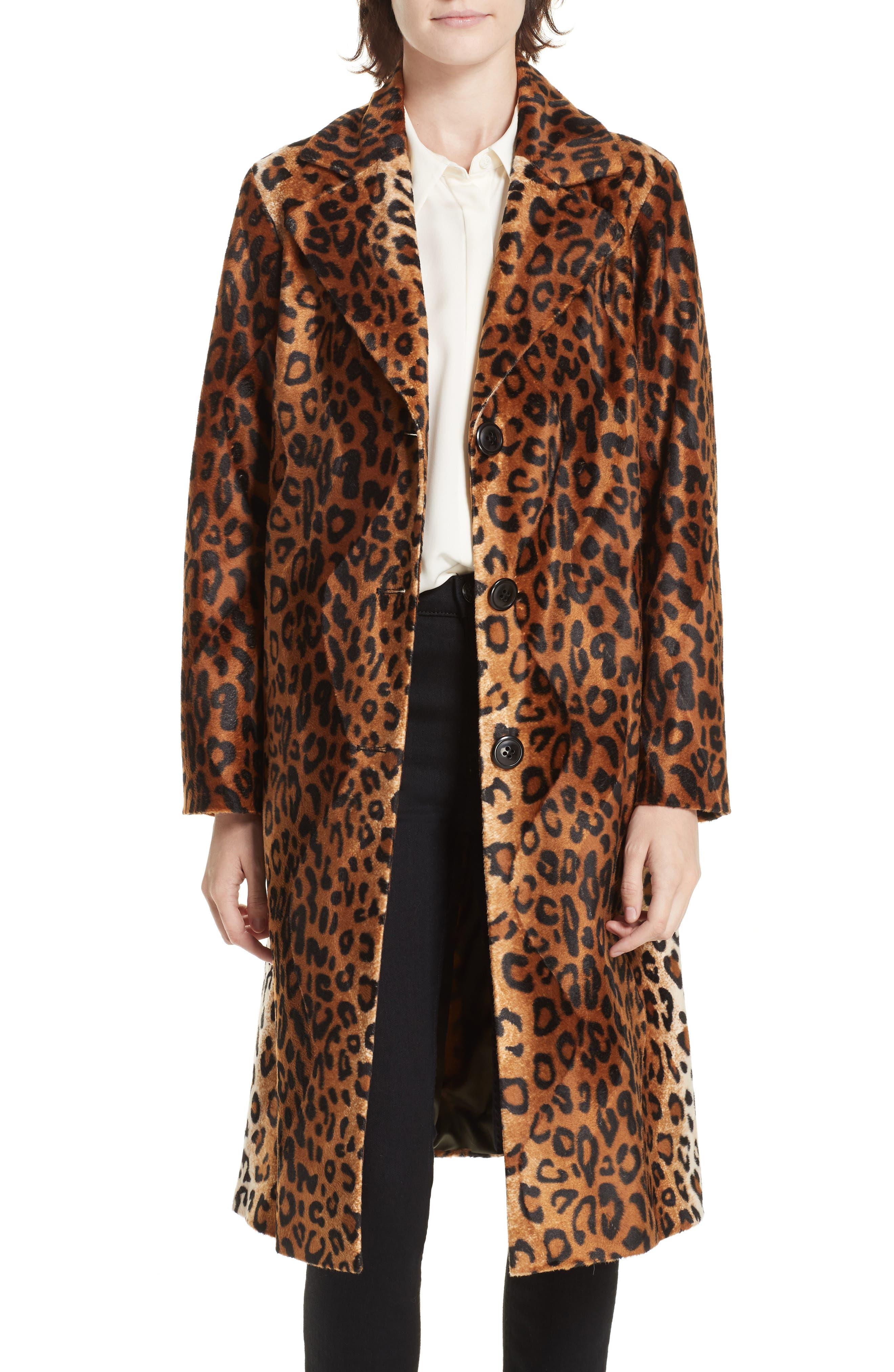 Faux Leopard Fur Coat,                         Main,                         color, BROWN LEOPARD