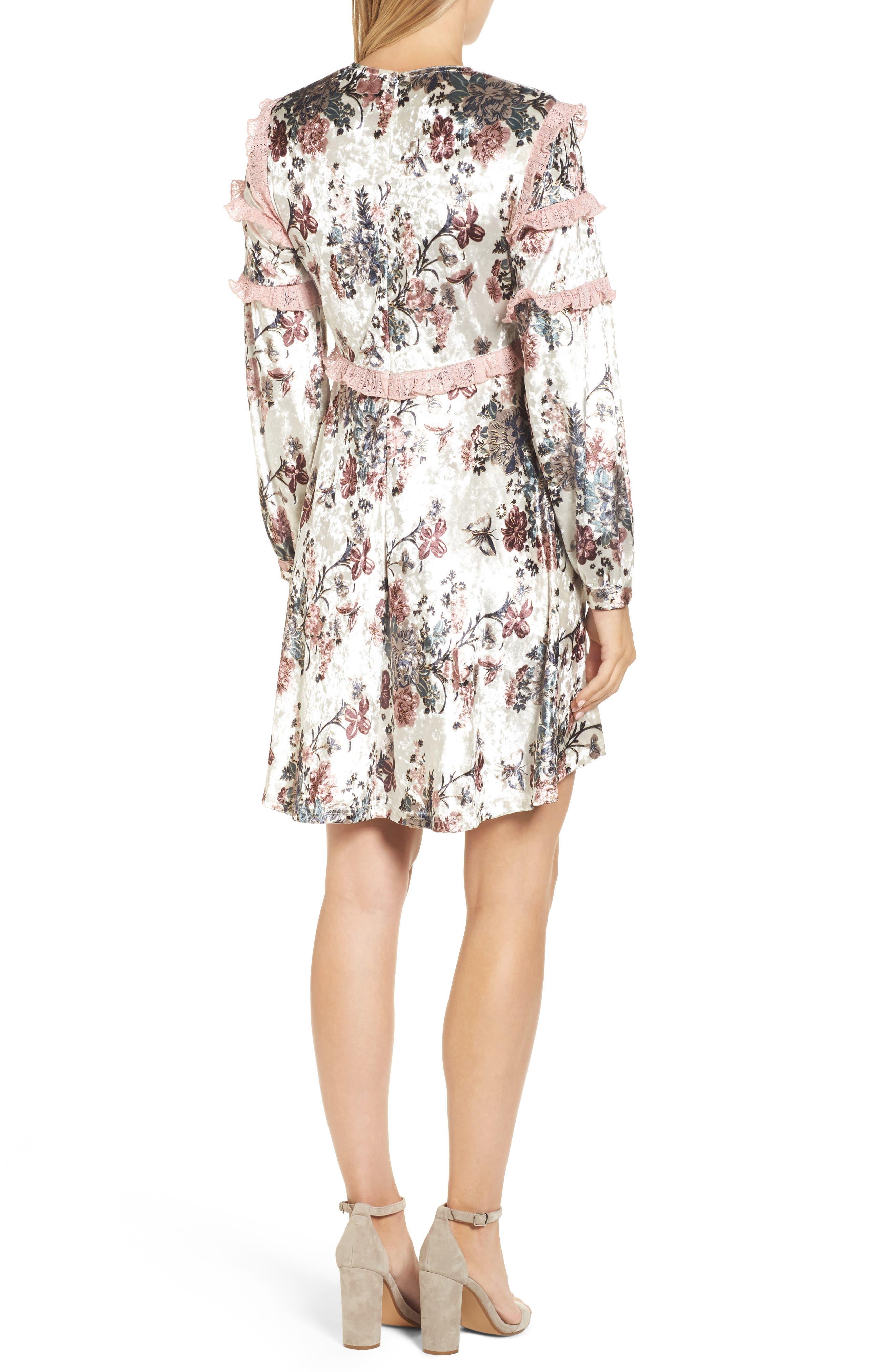 Melisa Floral Velvet & Lace Shift Dress,                             Alternate thumbnail 2, color,                             100