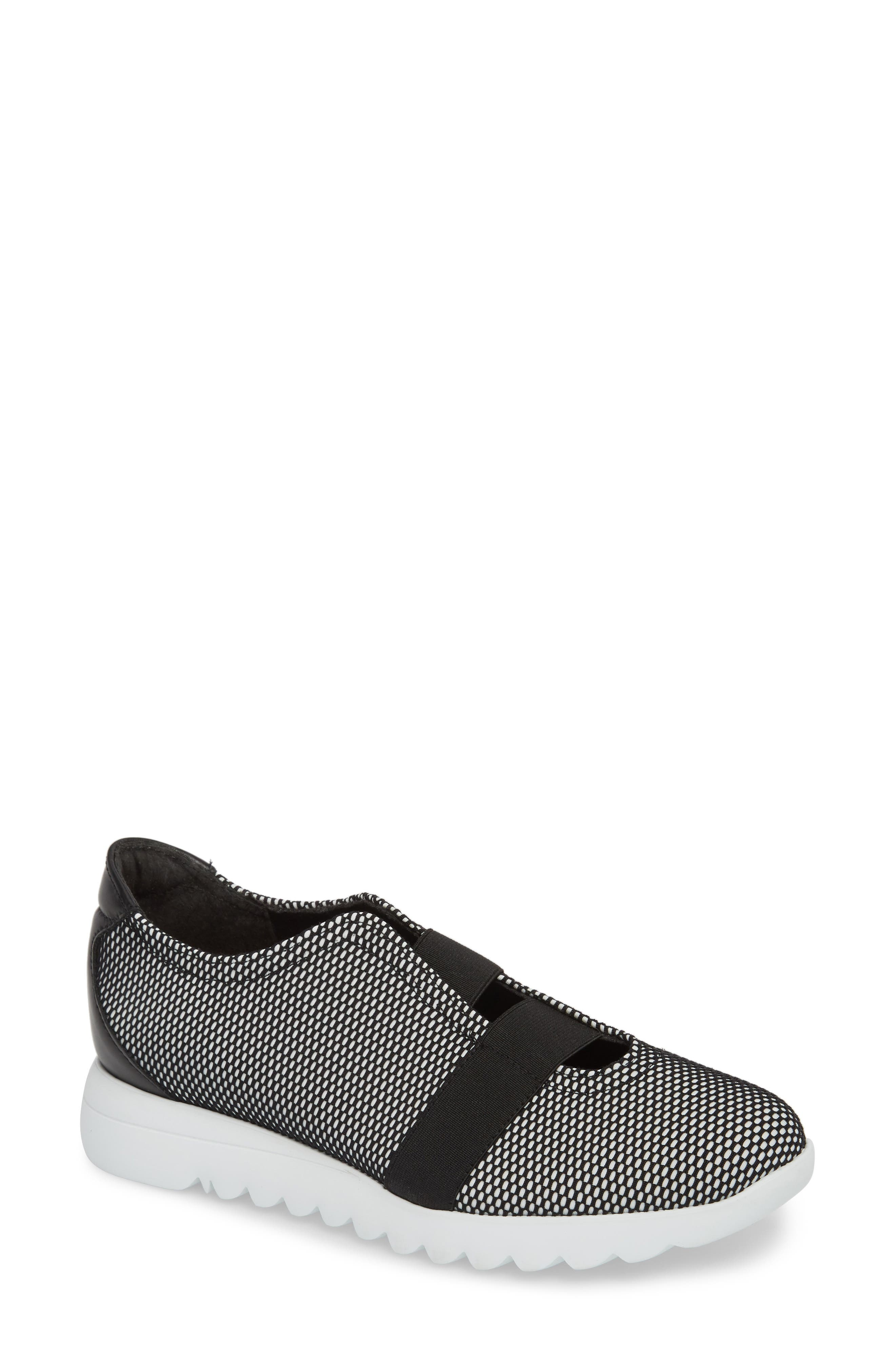 Alta Slip-On Sneaker,                             Main thumbnail 1, color,                             BLACK/ WHITE FABRIC