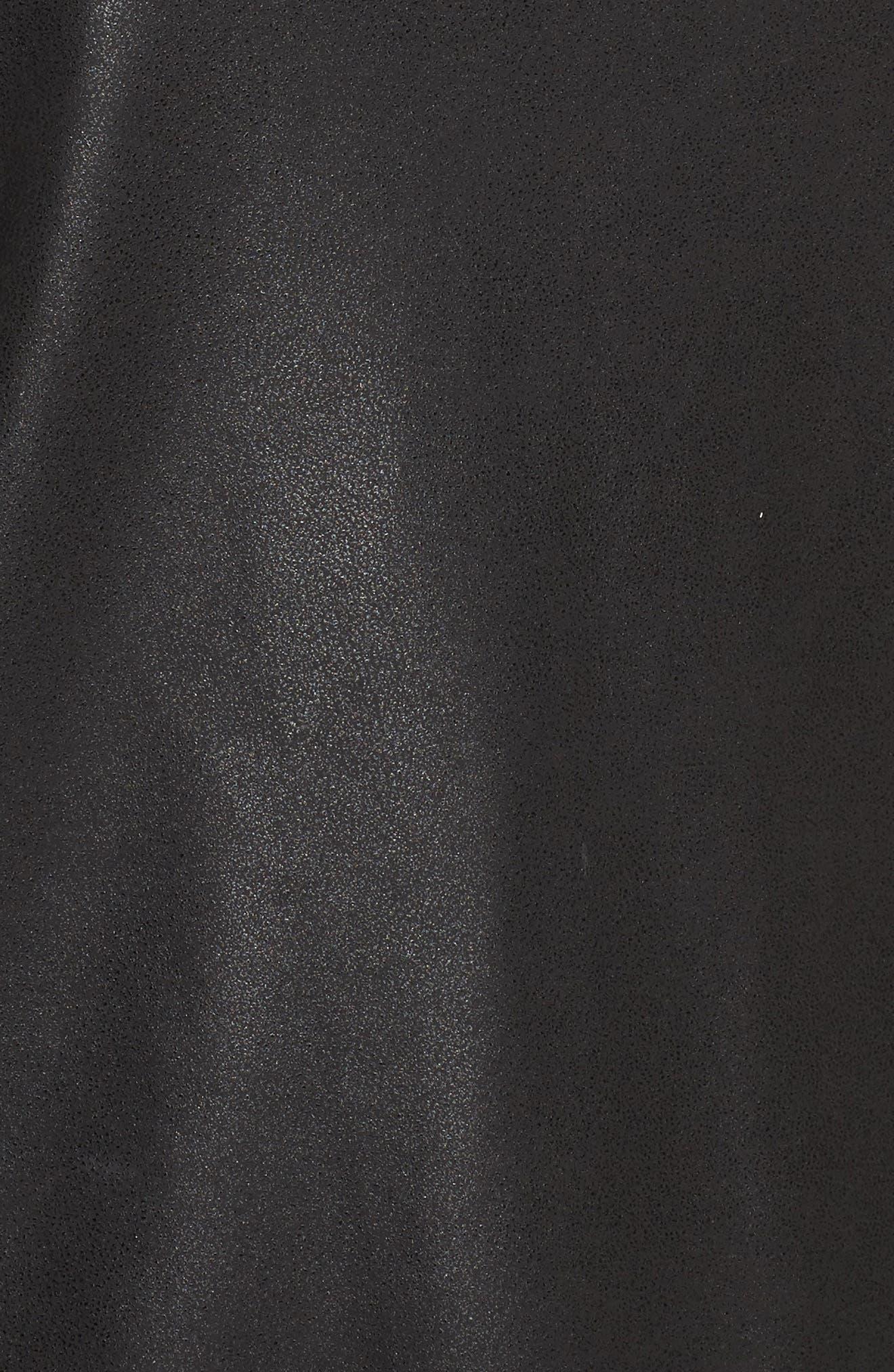 Drop Waist Faux Leather & Knit Dress,                             Alternate thumbnail 5, color,