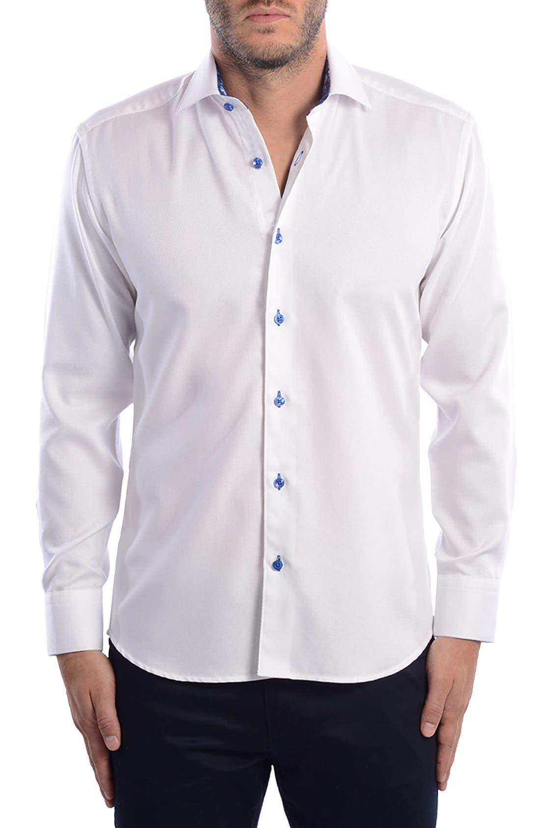 White Arrow Dobby Modern Fit Sport Shirt,                             Alternate thumbnail 7, color,