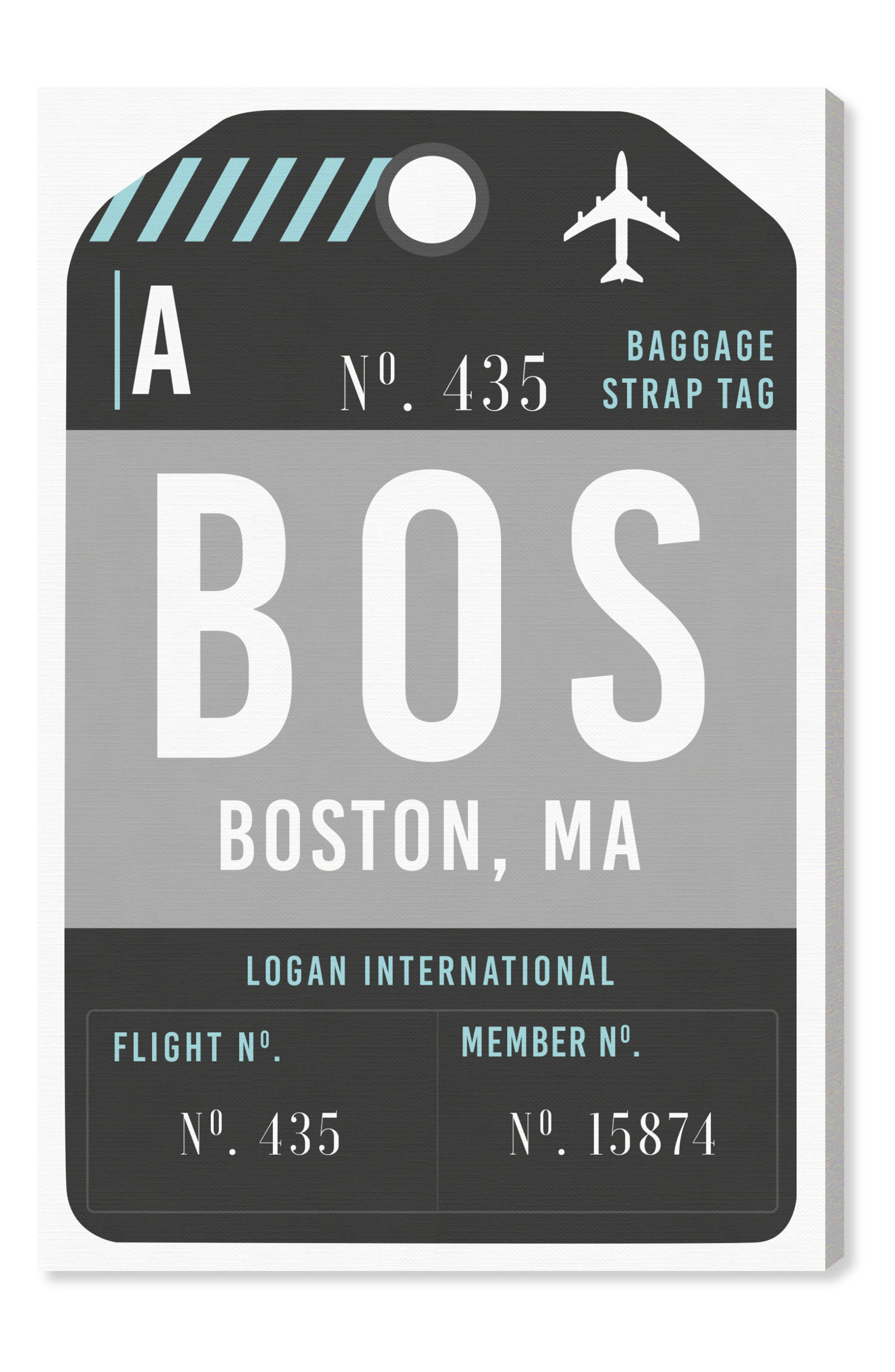 Boston Luggage Tag Wall Art,                             Main thumbnail 1, color,                             BLACK