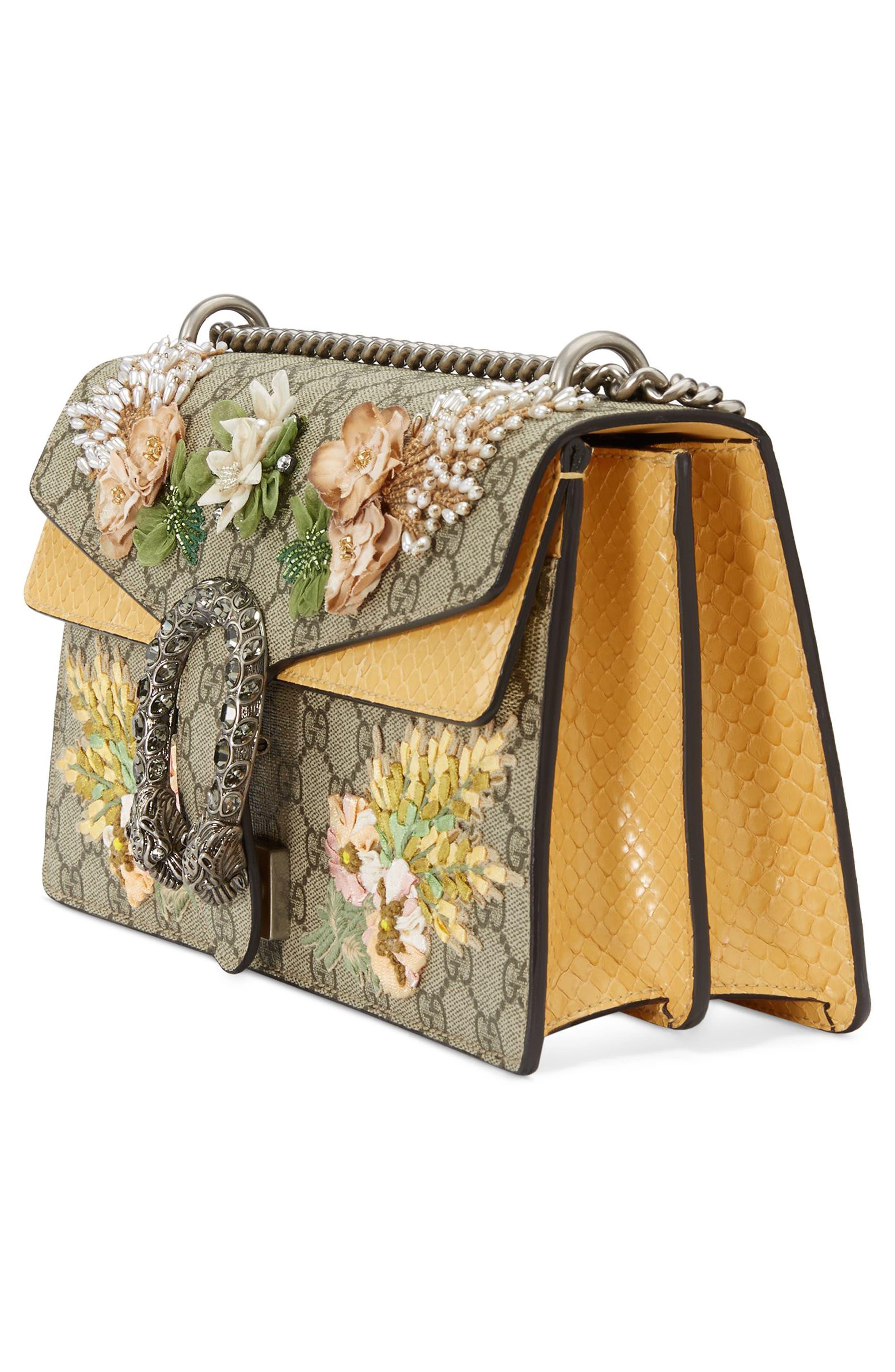Small Dionysus Embellished GG Supreme & Genuine Python Shoulder Bag,                             Alternate thumbnail 4, color,                             BEIGE EBONY/ VIPER YELLOW