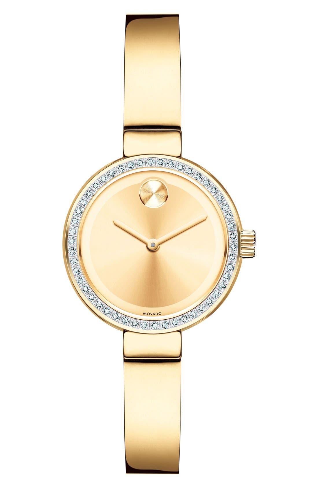 Bold Diamond Bezel Bangle Watch, 25mm,                             Main thumbnail 2, color,