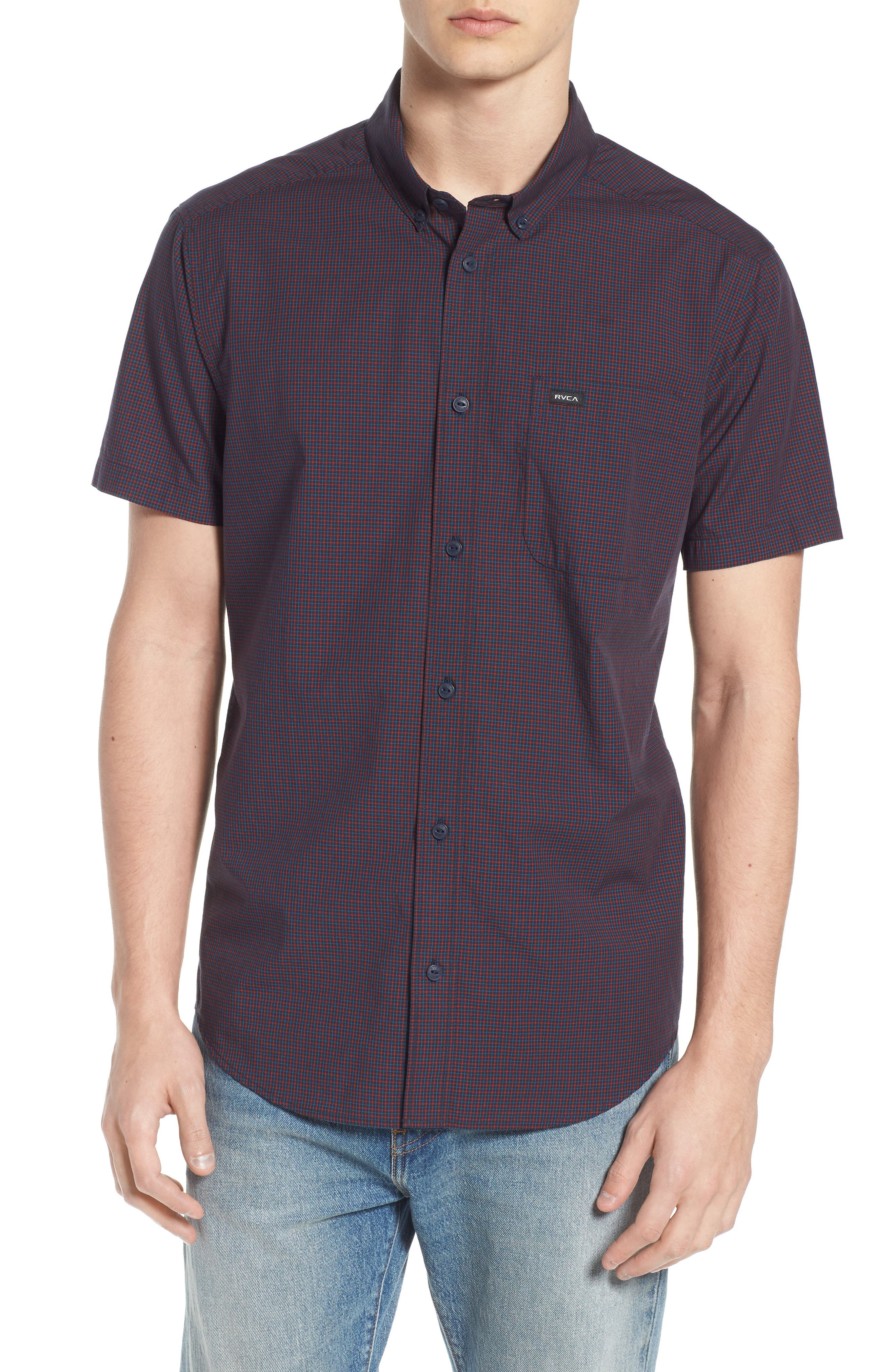 Staple Woven Shirt,                             Main thumbnail 1, color,                             NEW NAVY