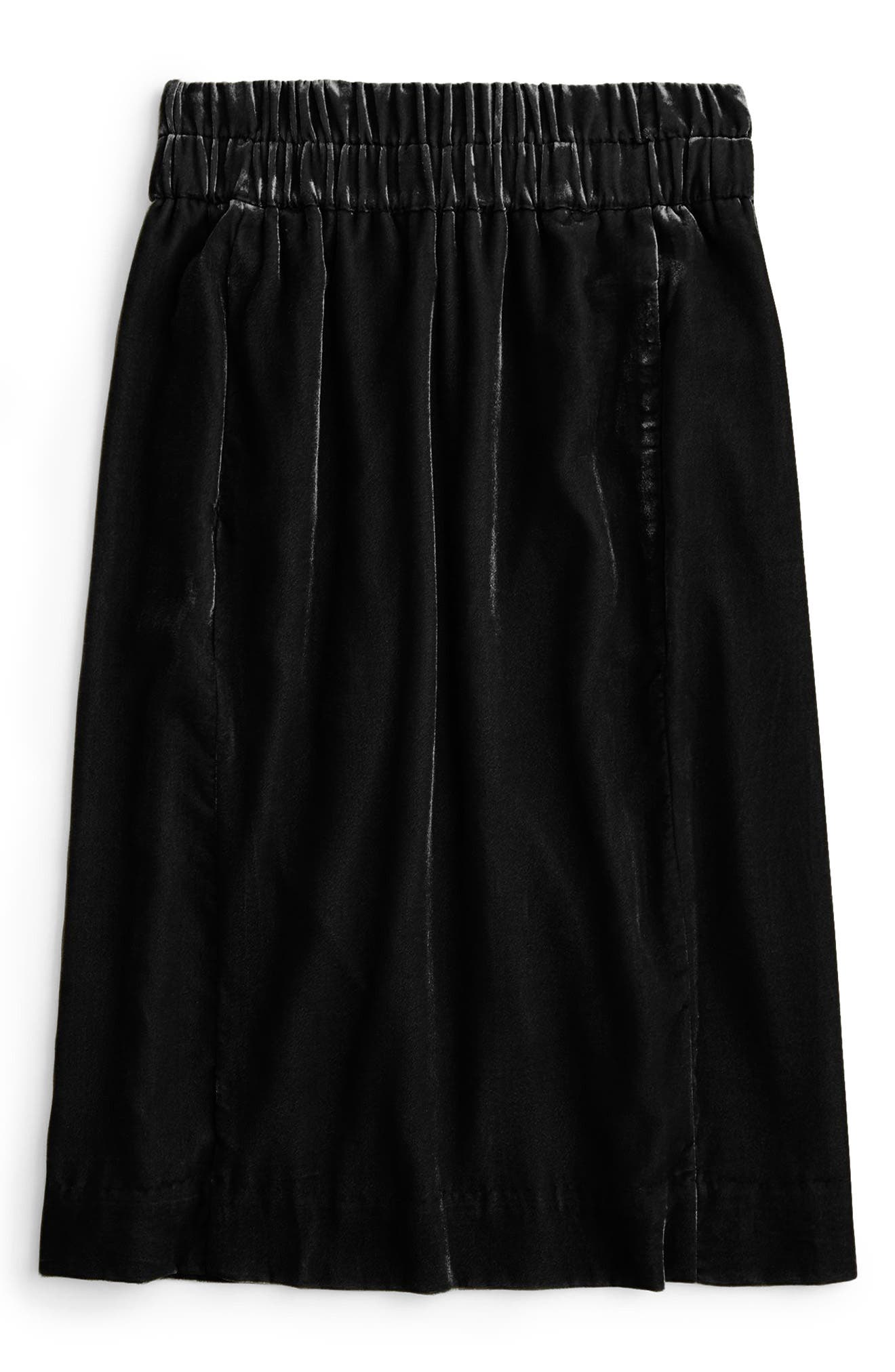 Pull-On Velvet Skirt,                             Alternate thumbnail 5, color,                             BLACK