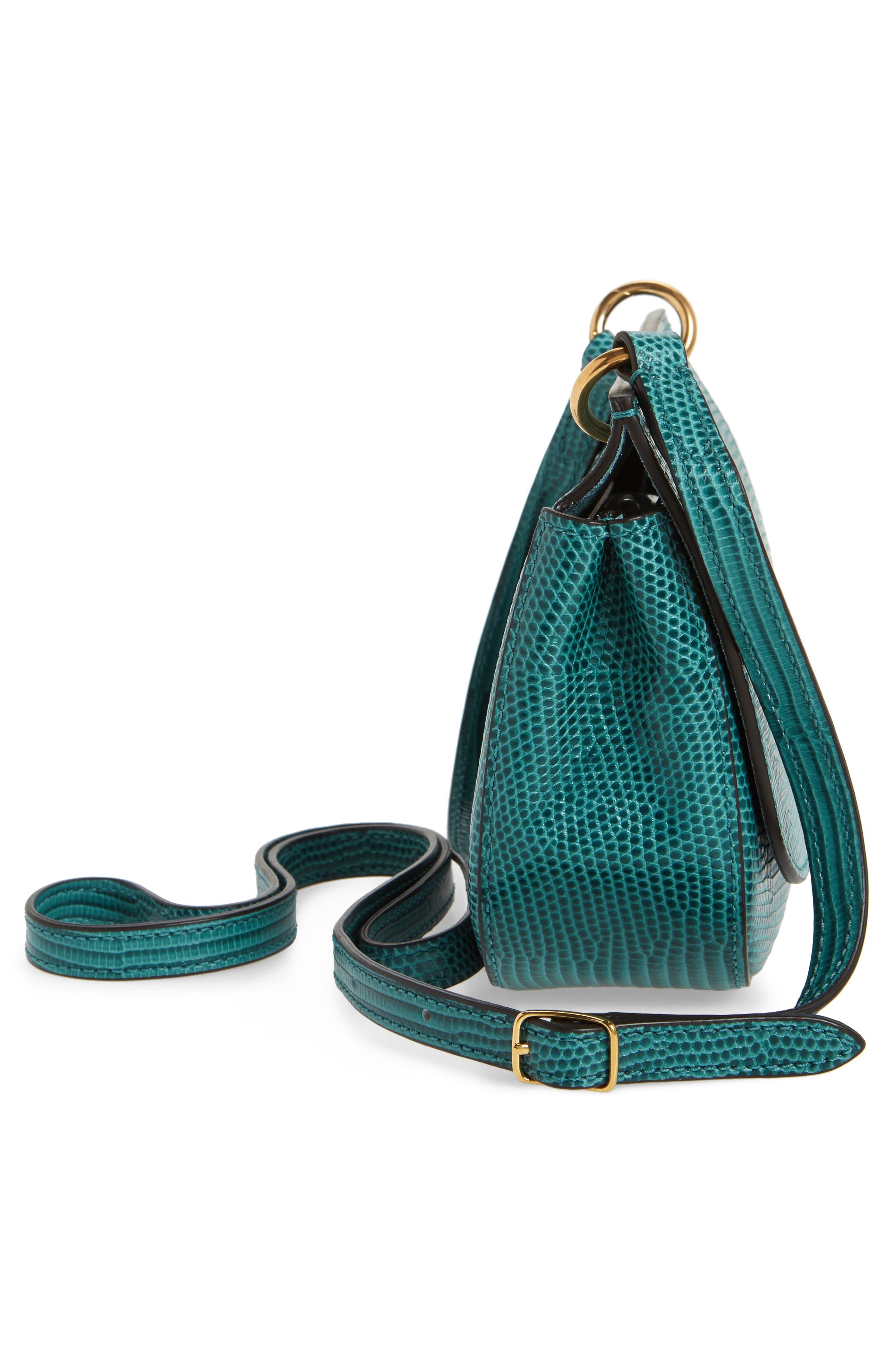 Mini Amberley Reptile Embossed Leather Crossbody Bag,                             Alternate thumbnail 5, color,                             401