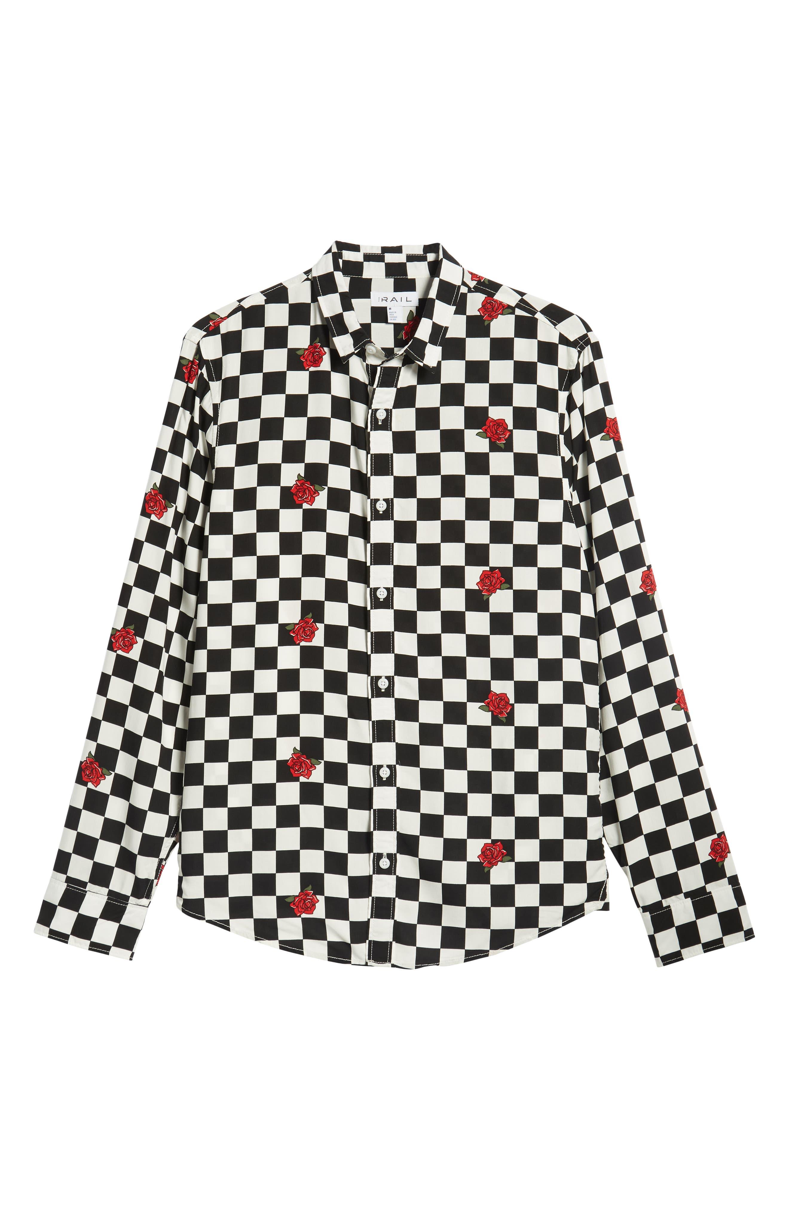 Checkerboard Rose Print Woven Shirt,                             Alternate thumbnail 6, color,                             001