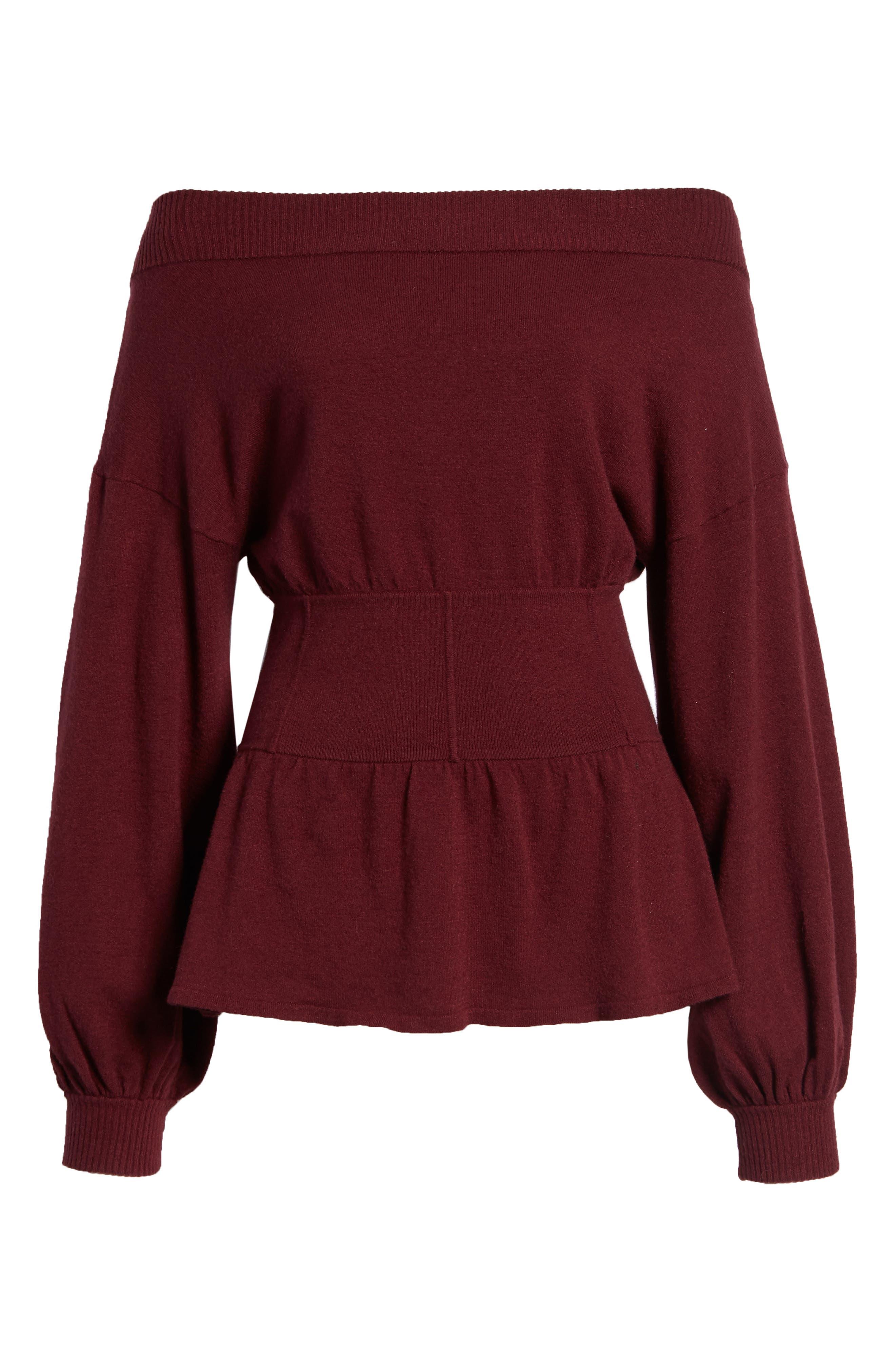 Waist Detail Off the Shoulder Sweater,                             Alternate thumbnail 6, color,                             601