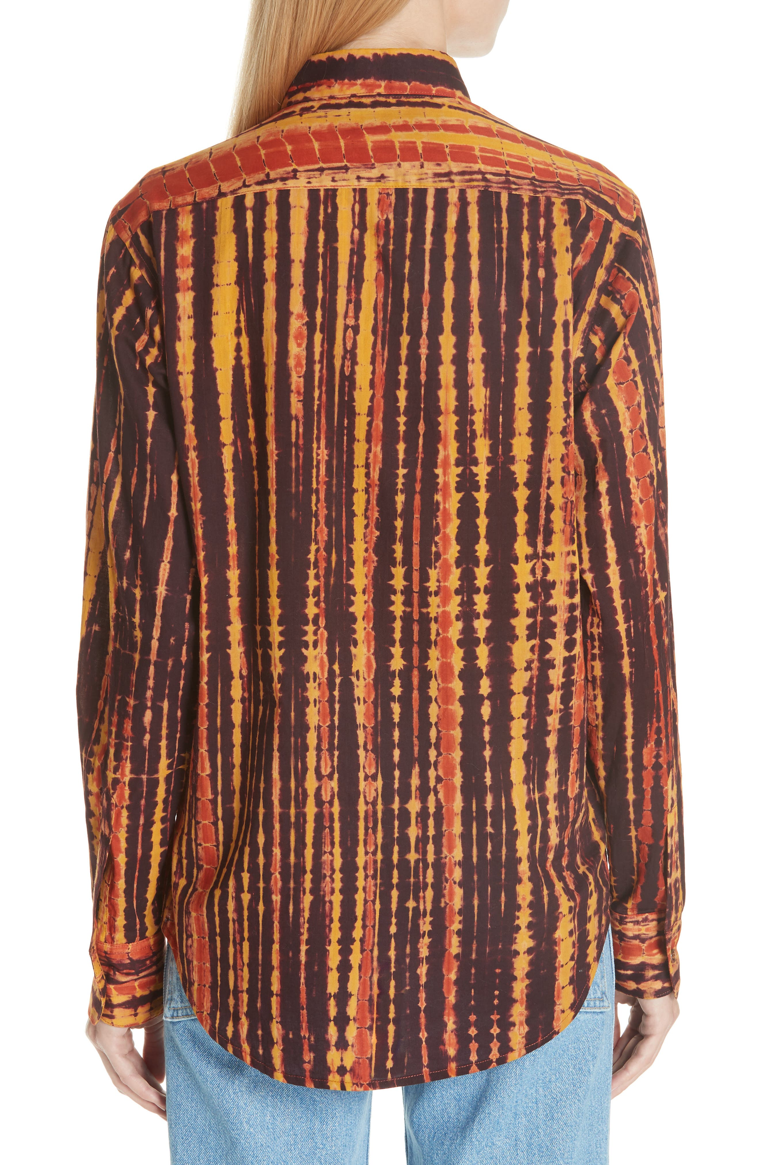 Hand Dyed Cotton Shirt,                             Alternate thumbnail 2, color,                             BY - BROWN AND YELLOW