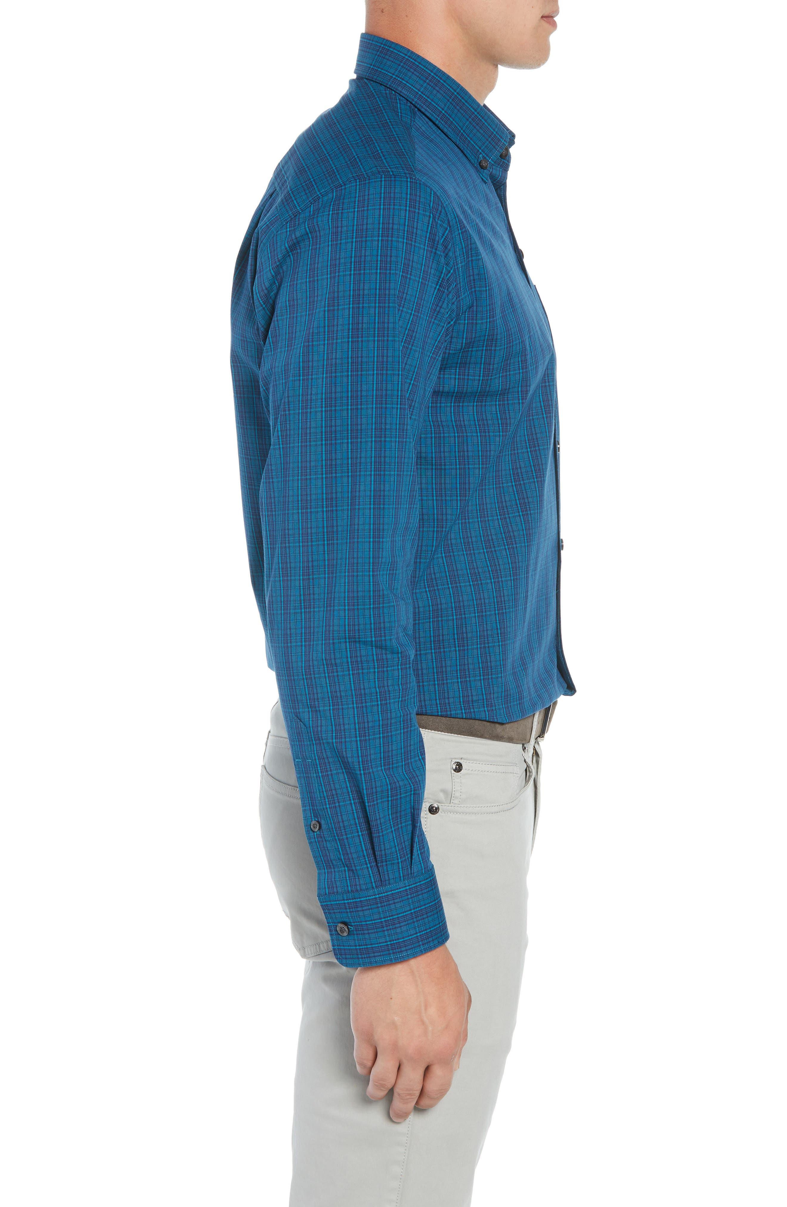 Logan Regular Fit Non-Iron Sport Shirt,                             Alternate thumbnail 4, color,                             AQUATIC