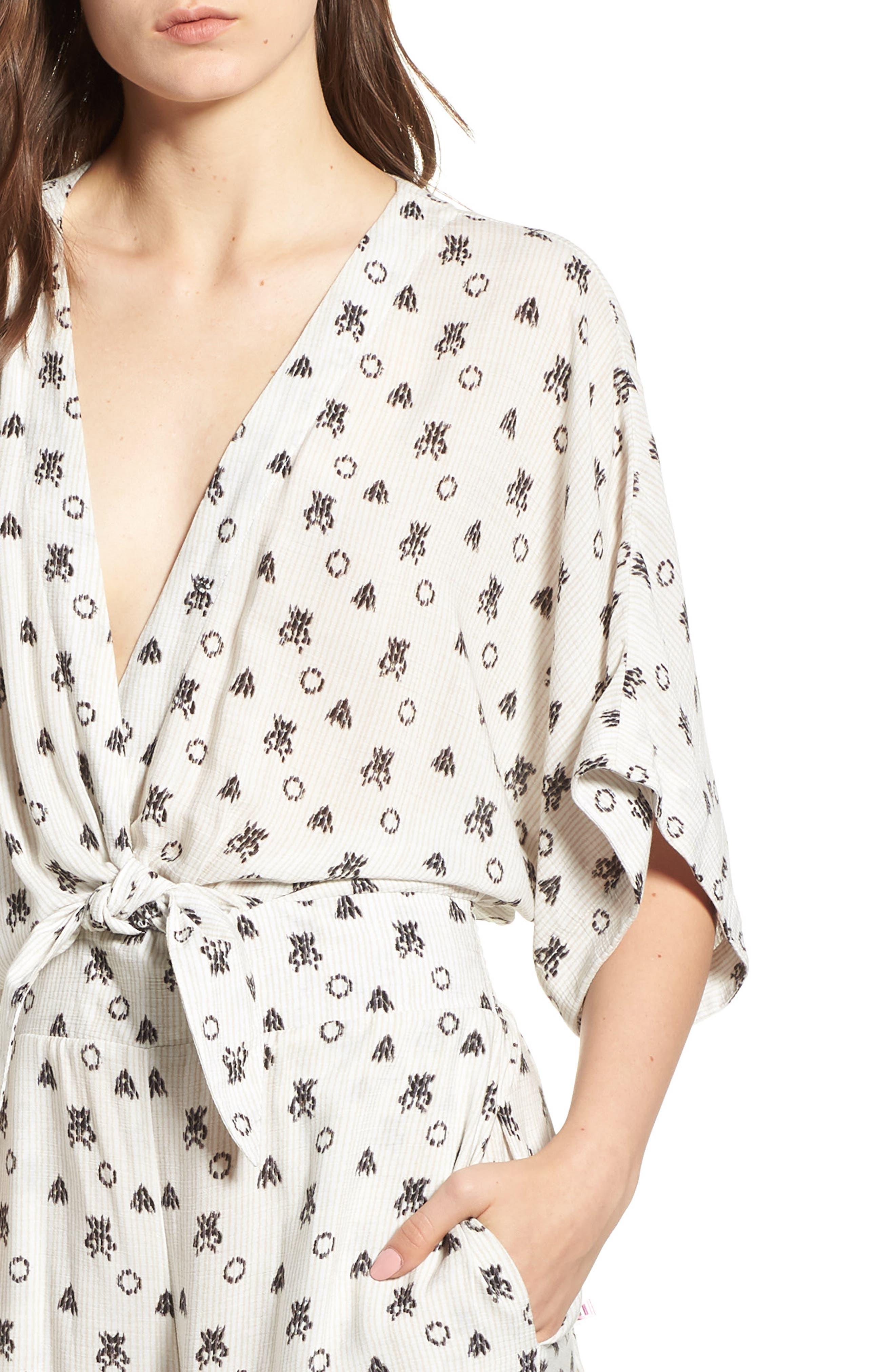 Desert Batik Print Tie Waist Jumpsuit,                             Alternate thumbnail 4, color,                             NATURAL