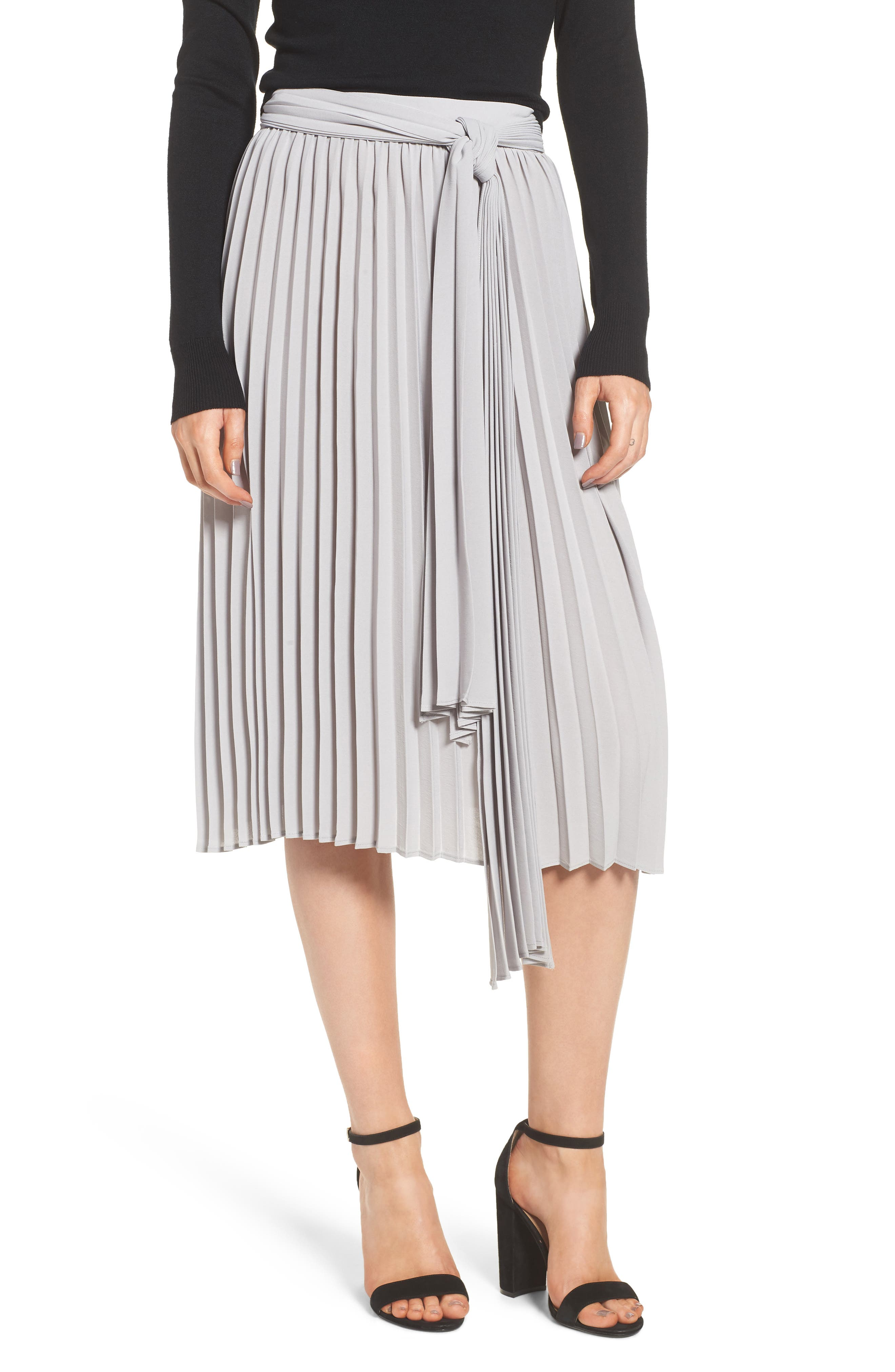 Pleated Midi Skirt,                             Main thumbnail 1, color,