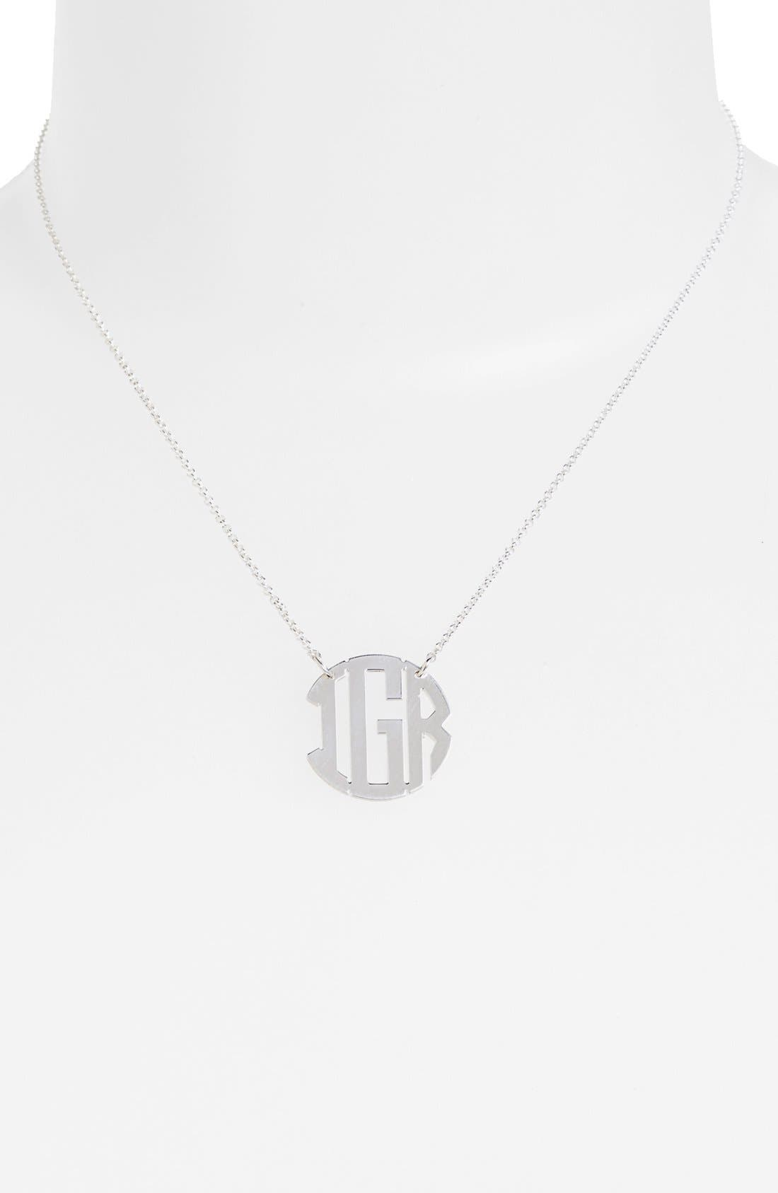 Personalized 3-Initial Block Monogram Necklace,                             Alternate thumbnail 2, color,                             040