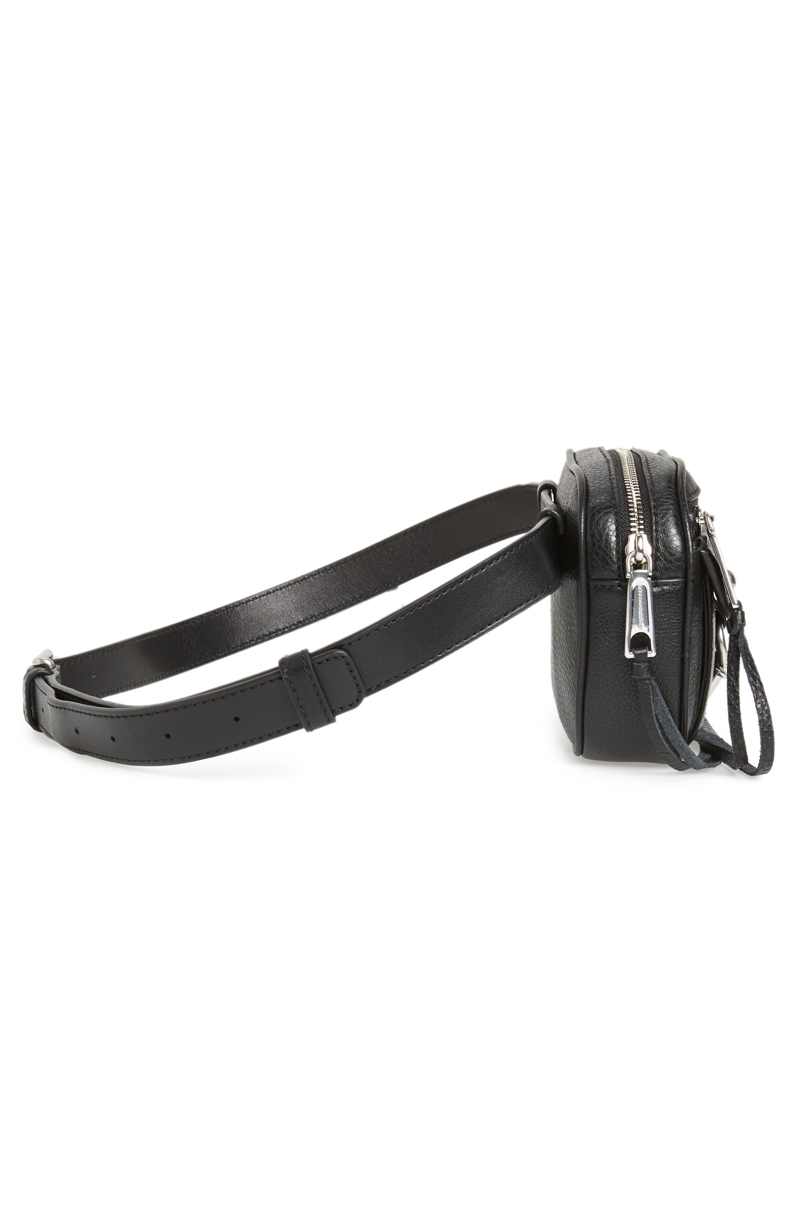 Blythe Leather Belt Bag,                             Alternate thumbnail 6, color,                             BLACK