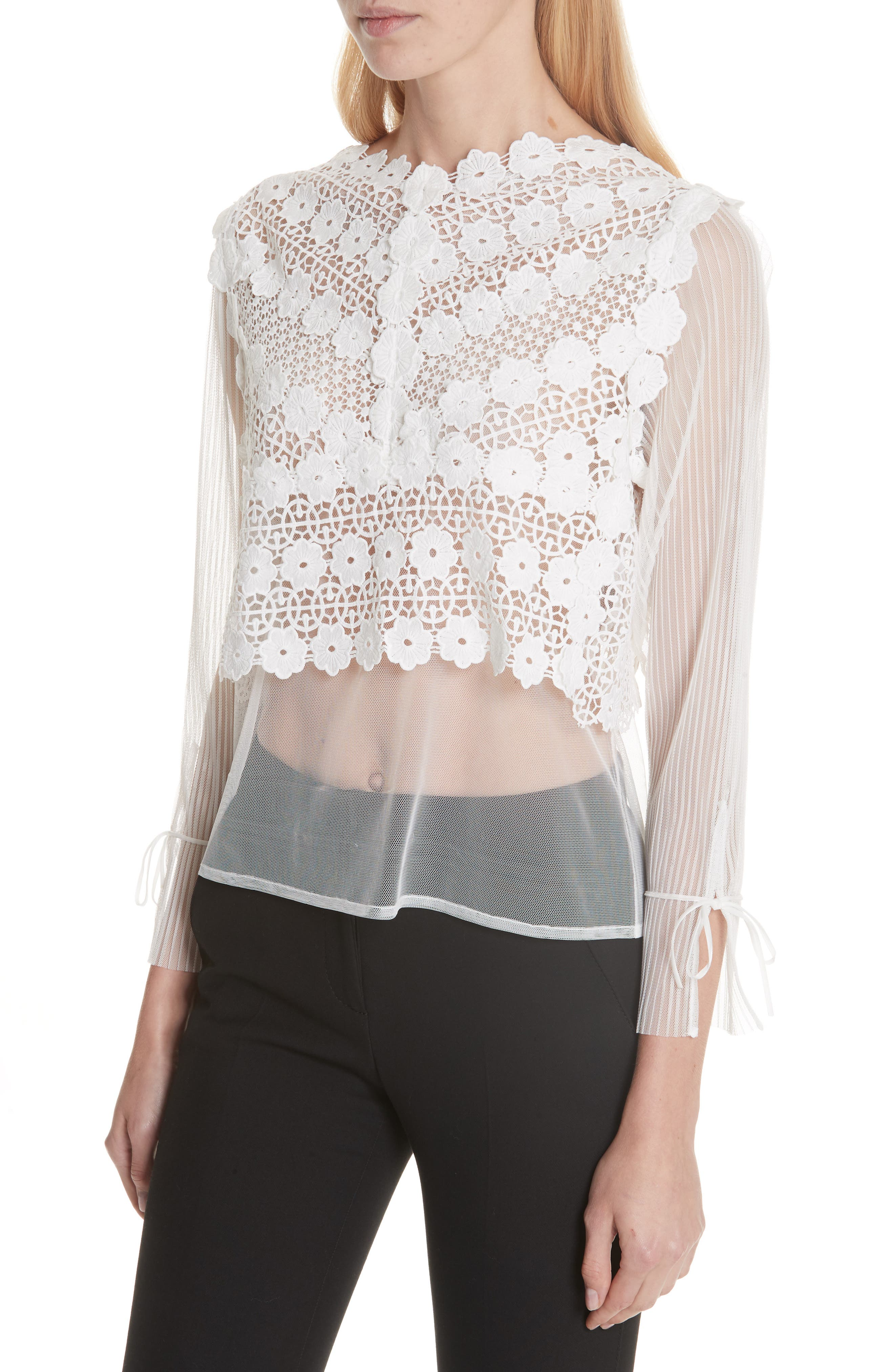 Tulle Lace Top,                             Alternate thumbnail 4, color,                             100