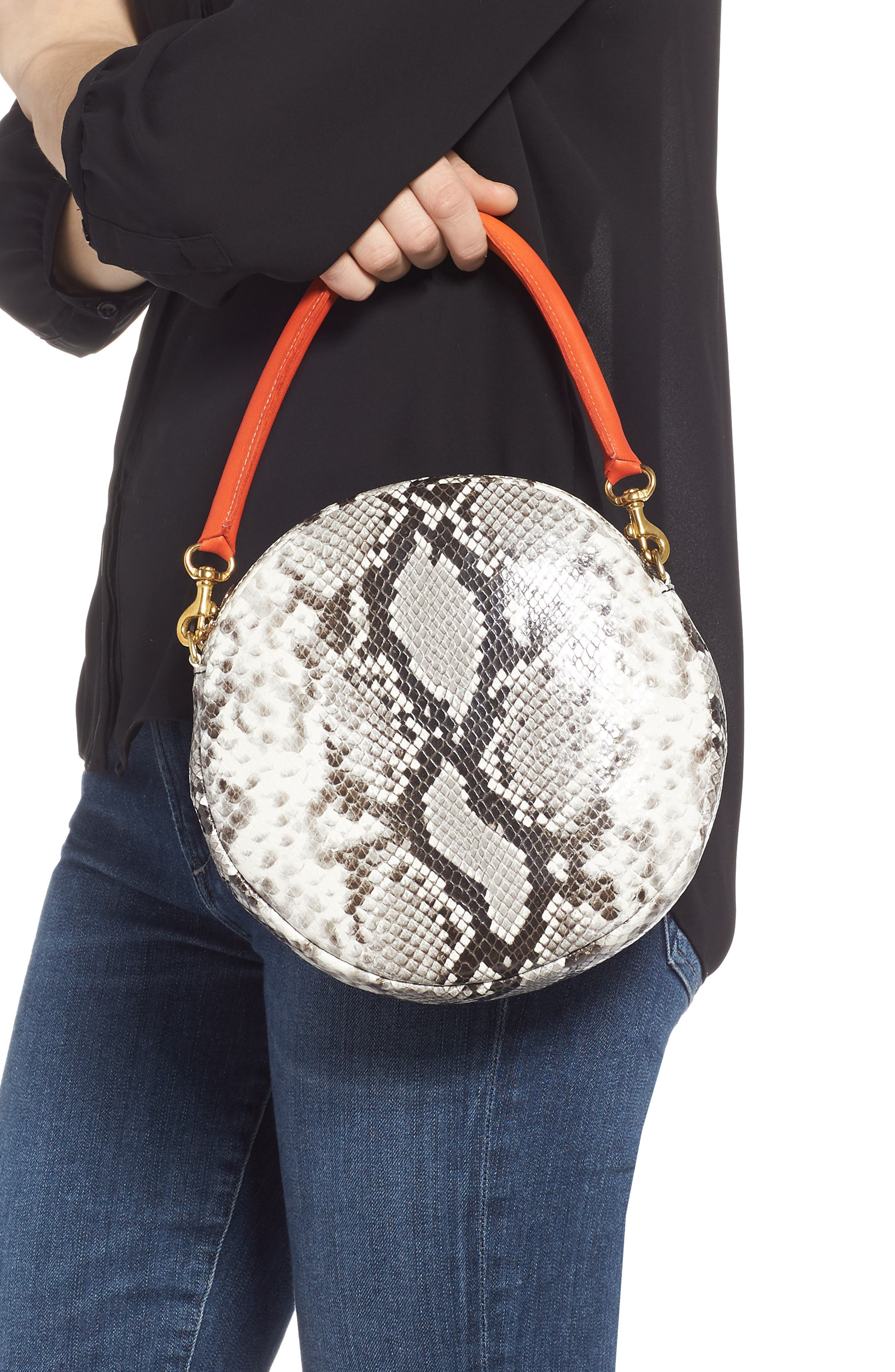 Python Embossed Leather Circle Clutch,                             Alternate thumbnail 2, color,                             001