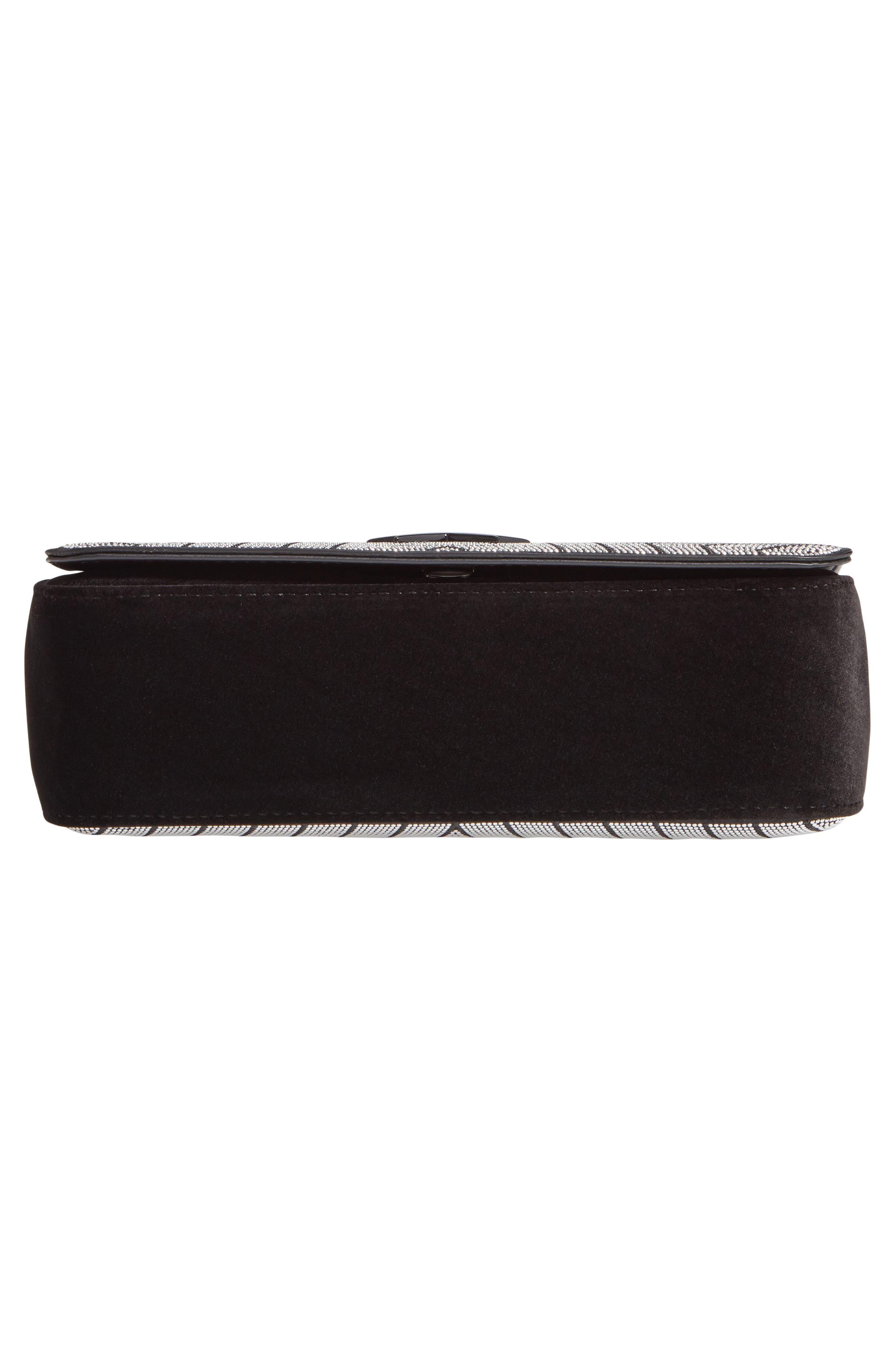 Medium Crystal Star Shoulder Bag,                             Alternate thumbnail 6, color,                             BLACK