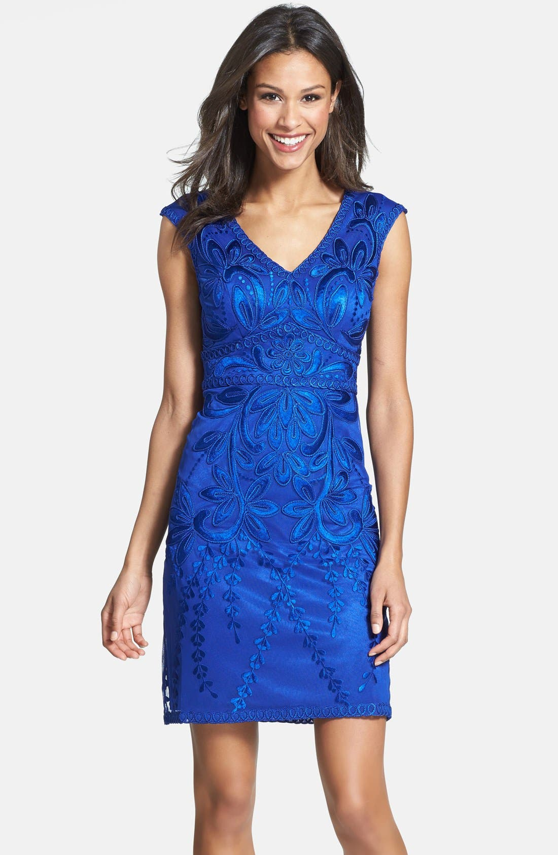 SUE WONG Embroidered Sheath Dress, Main, color, 404