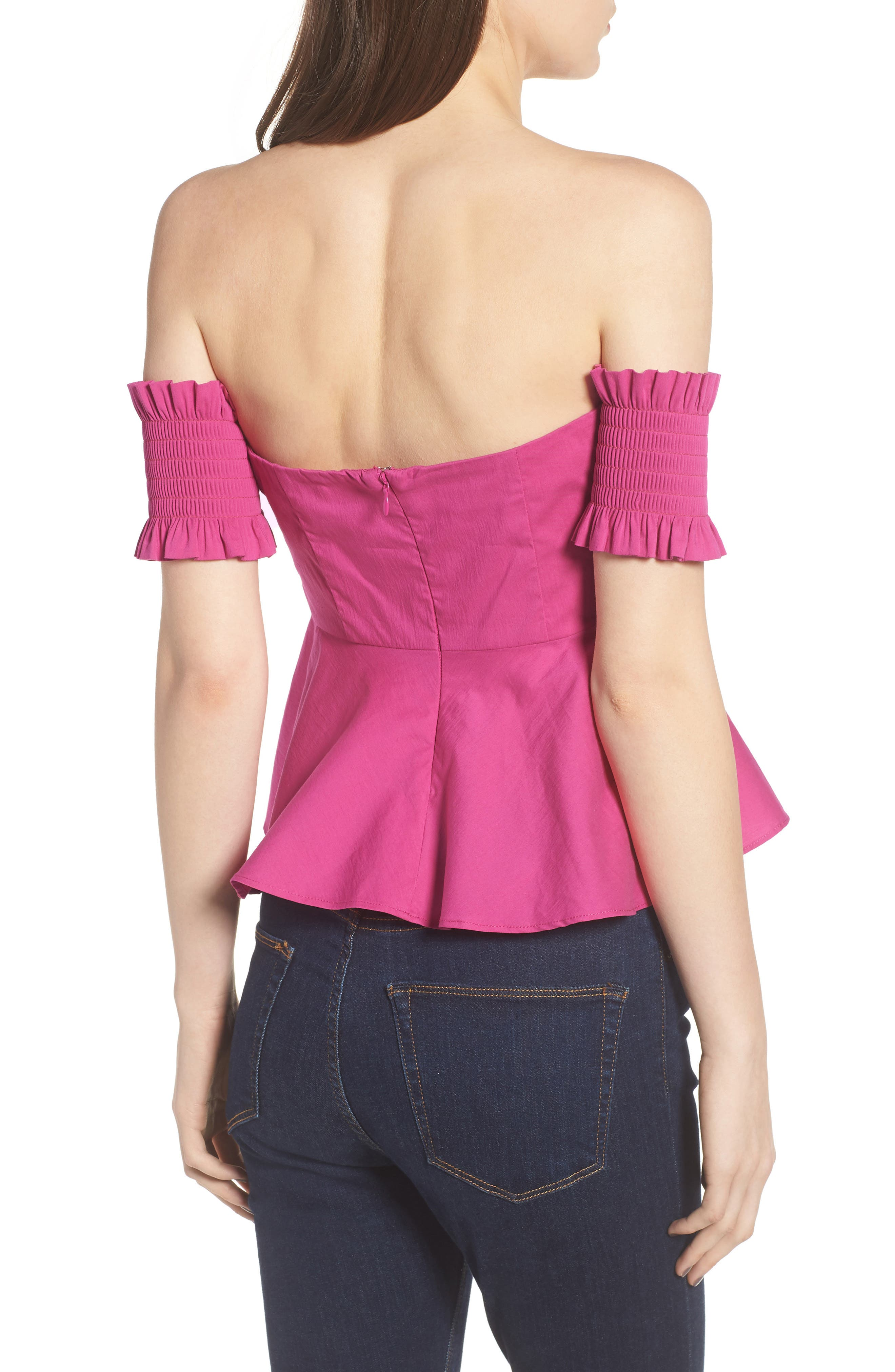Smocked Off the Shoulder Top,                             Alternate thumbnail 3, color,