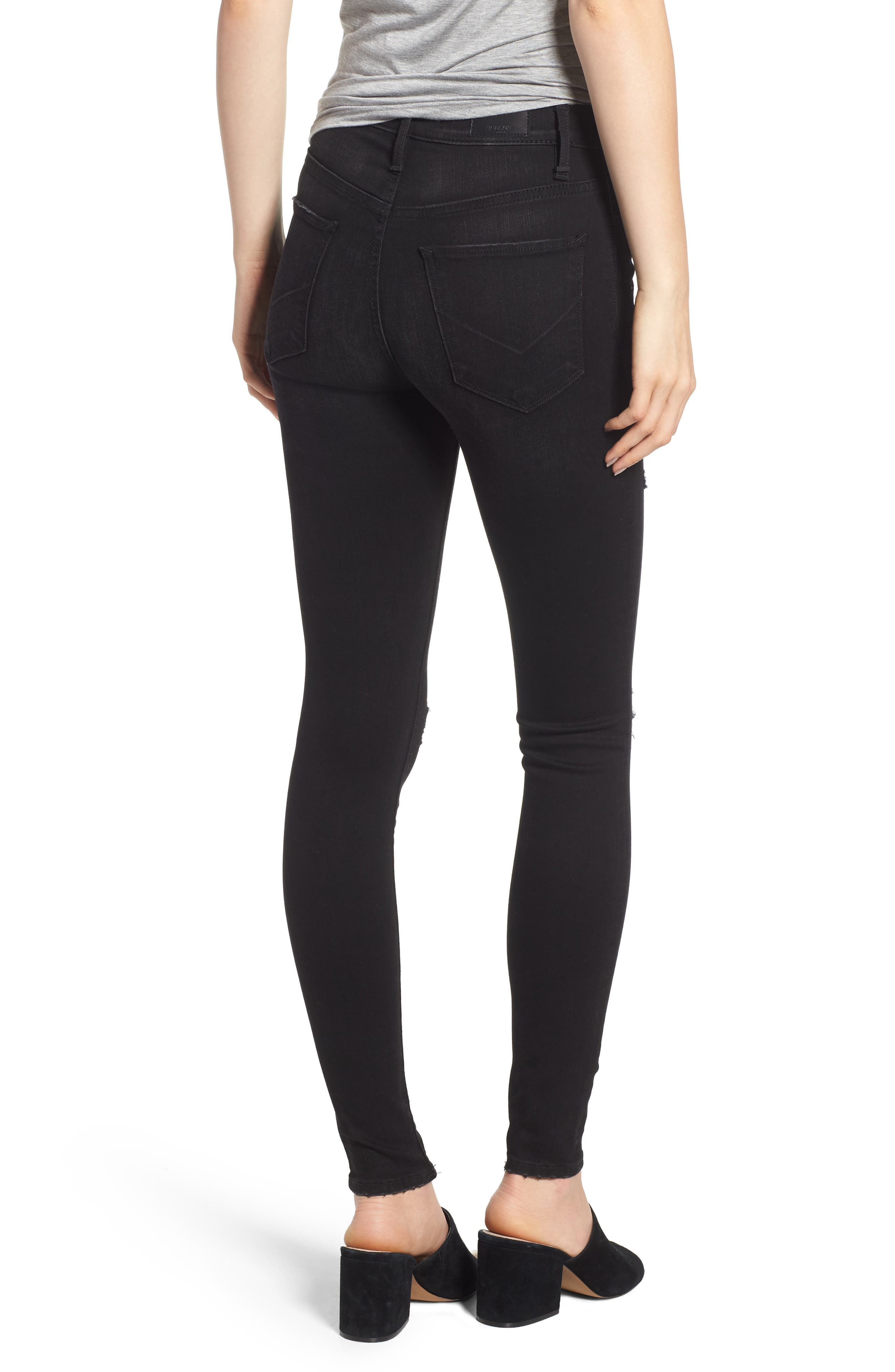 Barbara Ripped High Waist Super Skinny Jeans,                             Alternate thumbnail 2, color,                             WESTBOUND