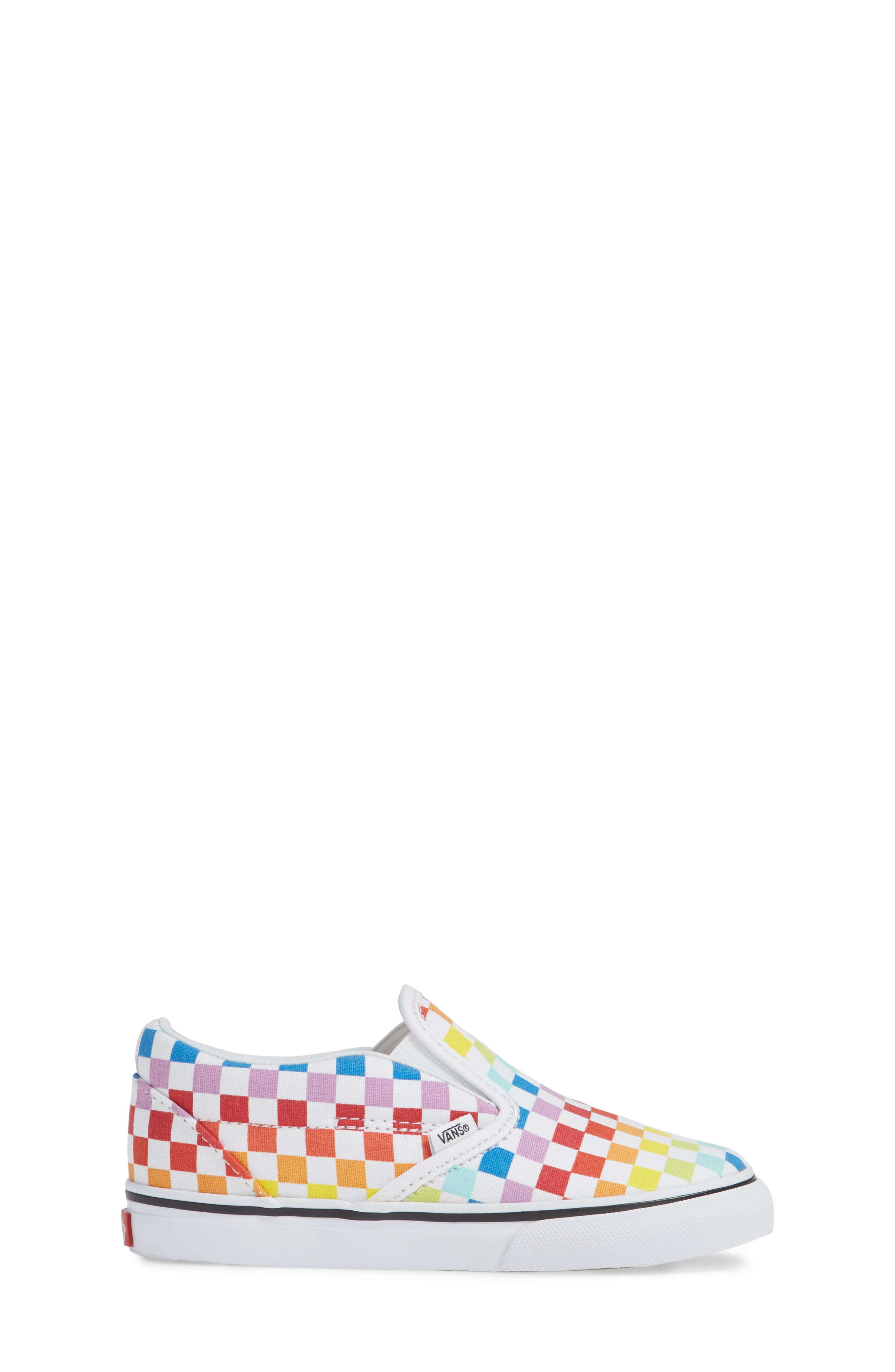 'Classic - Checker' Slip-On,                             Alternate thumbnail 3, color,                             RAINBOW/ WHITE