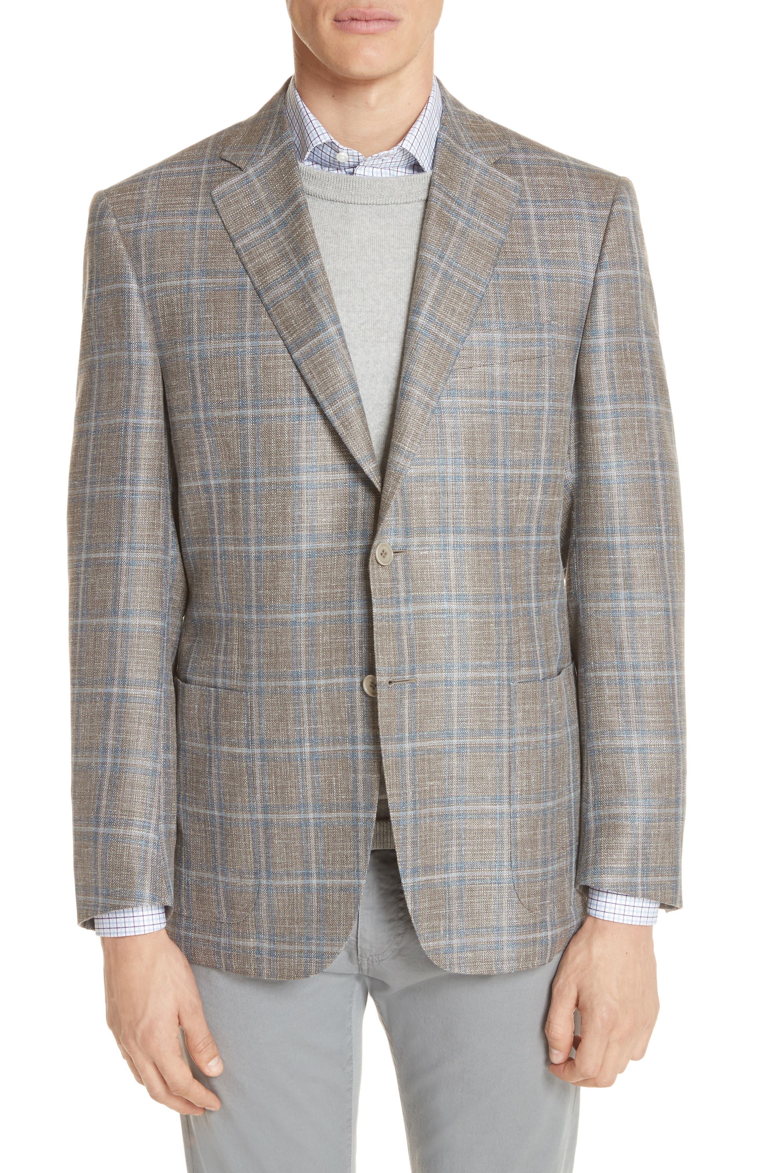 CANALI Kei Classic Fit Windowpane Wool Blend Sport Coat, Main, color, 250