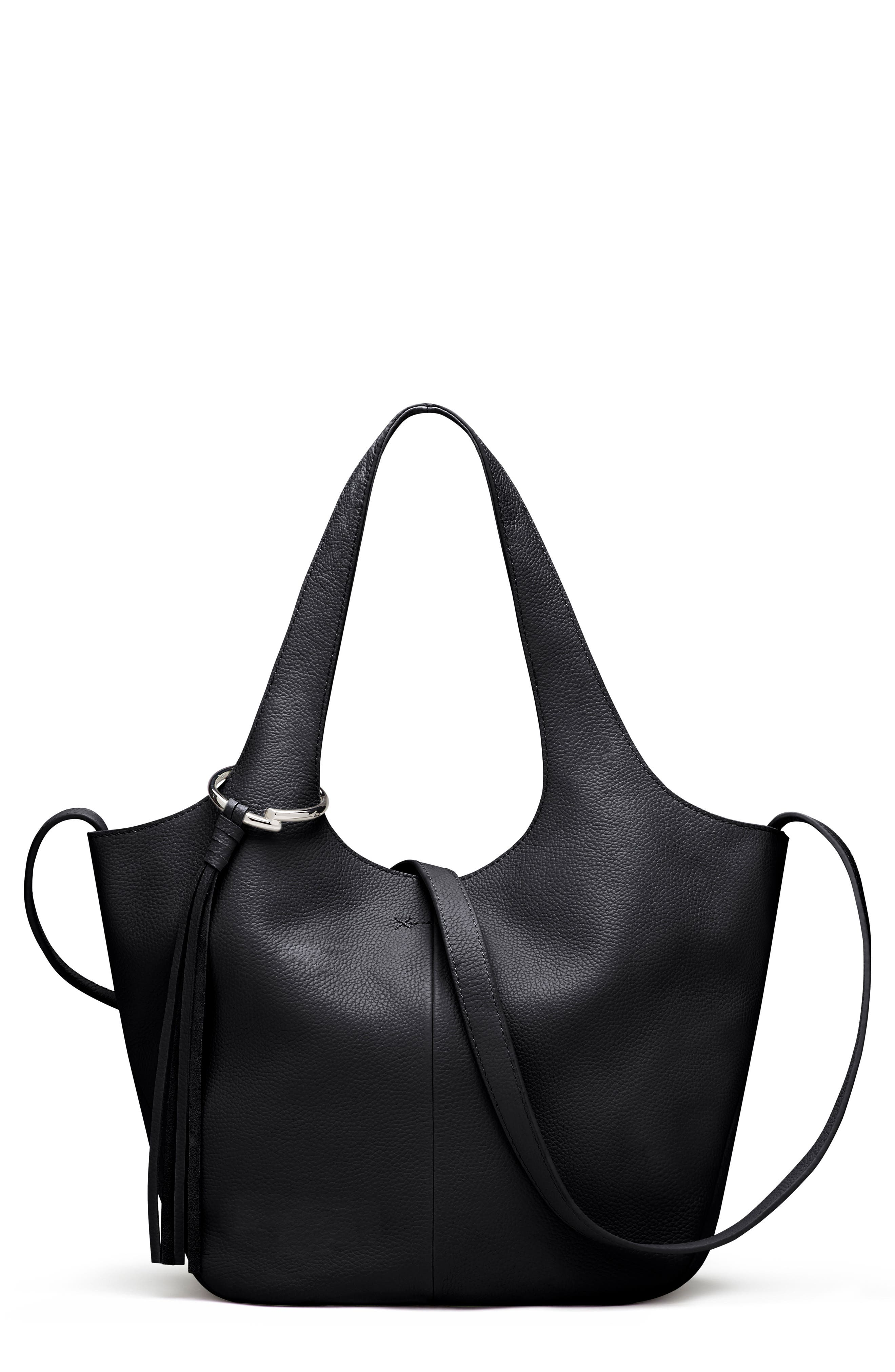 Small Finley Leather Shopper,                             Main thumbnail 1, color,                             001
