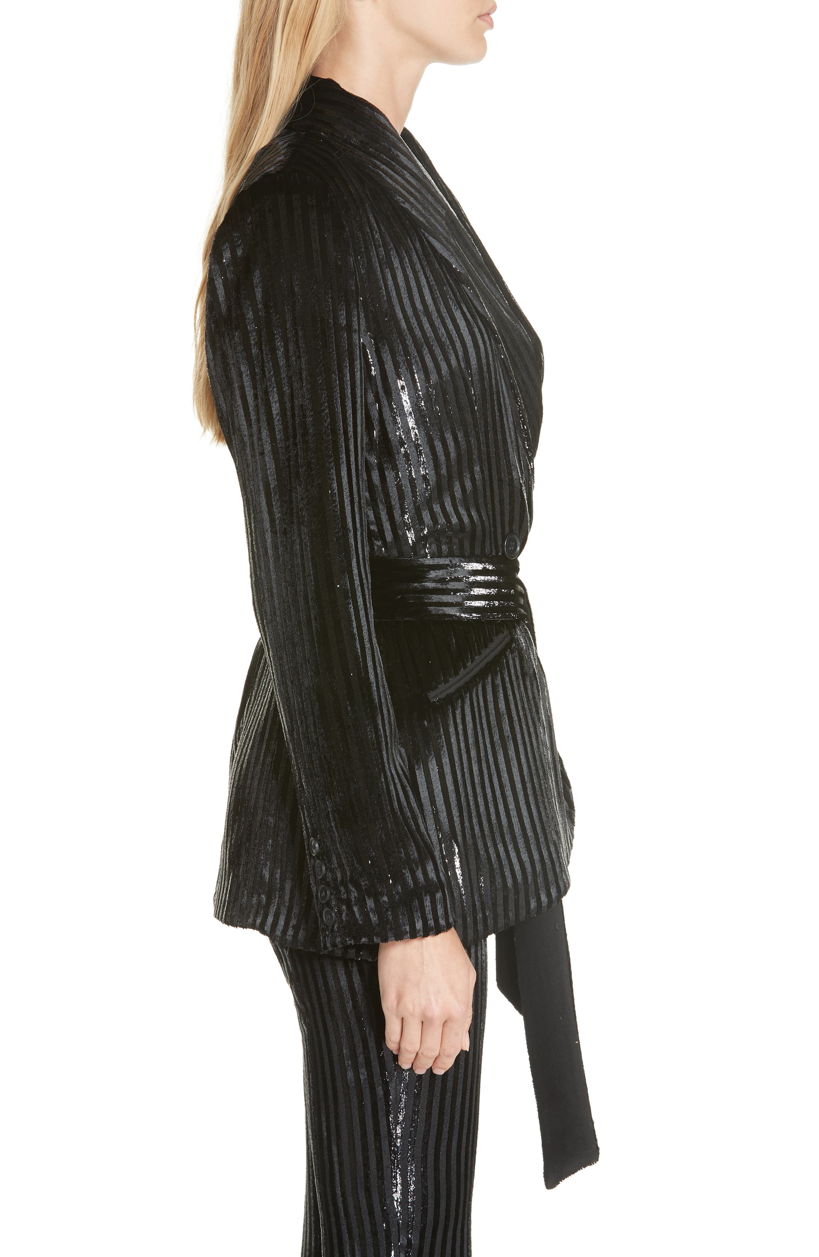 Velvet Stripe Tie Waist Blazer,                             Alternate thumbnail 3, color,                             BLACK LAME STRIPE