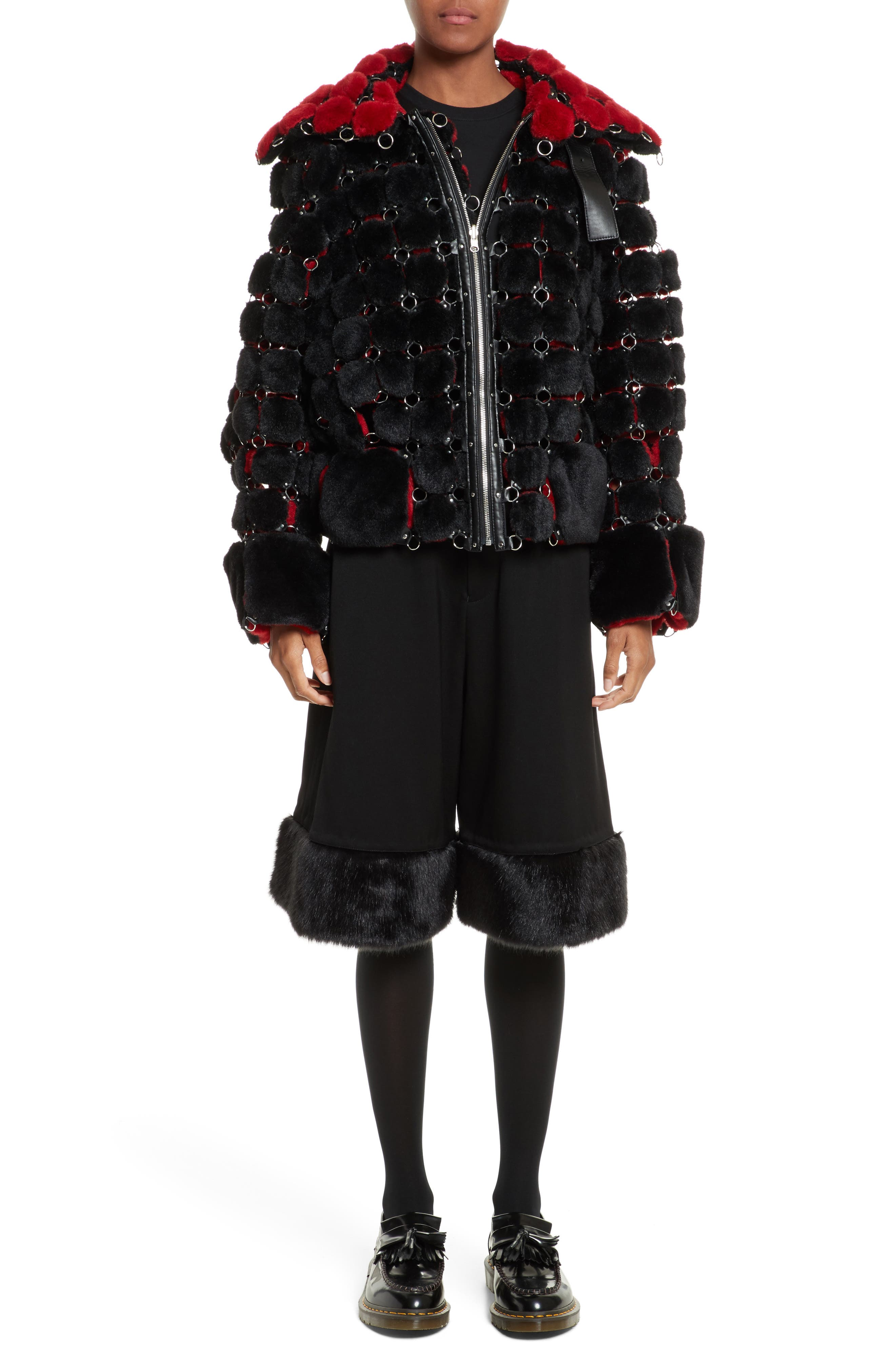 Faux Fur Jacket with Chain Mail Detail,                             Alternate thumbnail 7, color,                             005