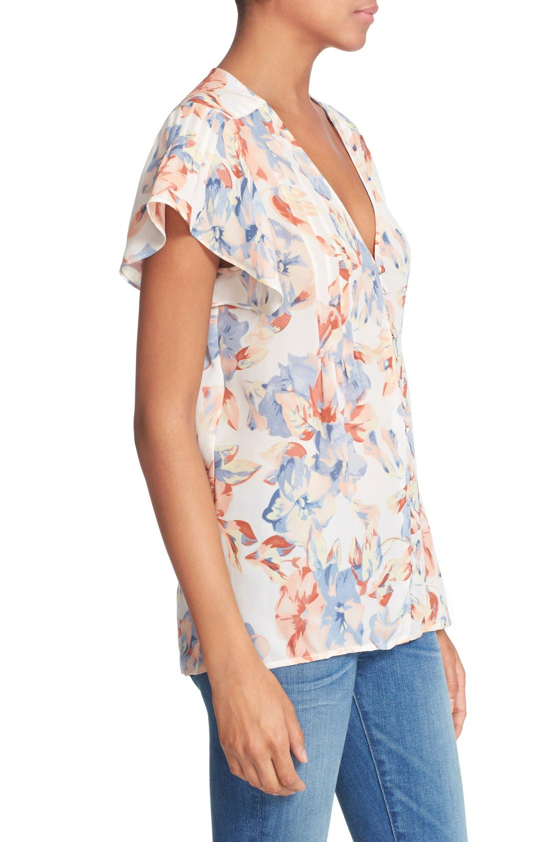 JOIE,                             'Annite' Floral Print Silk Top,                             Alternate thumbnail 3, color,                             901