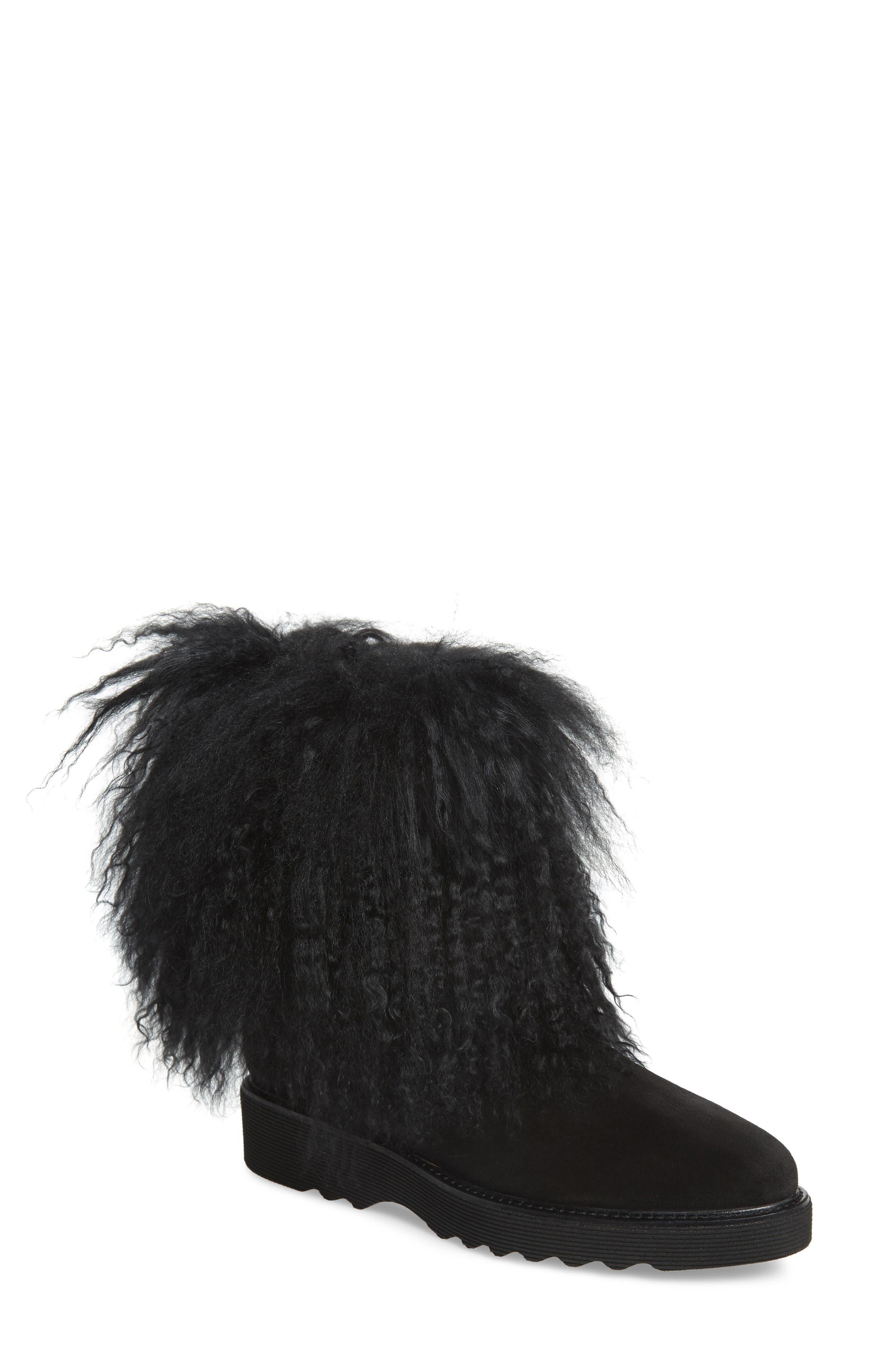 Kaegan Genuine Shearling Boot in Black