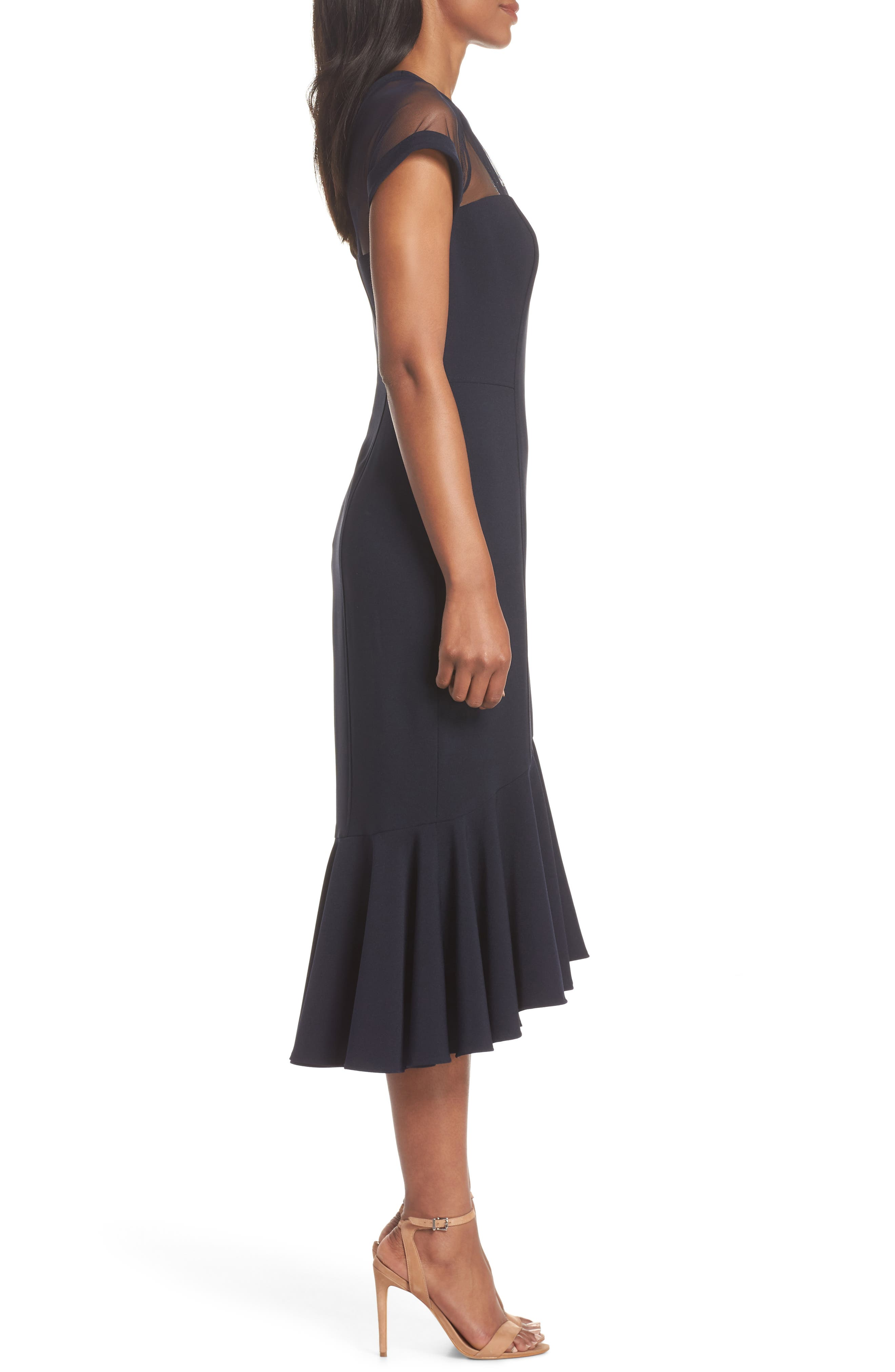 Illusion Neck Crepe Trumpet Dress,                             Alternate thumbnail 3, color,                             DARK NAVY