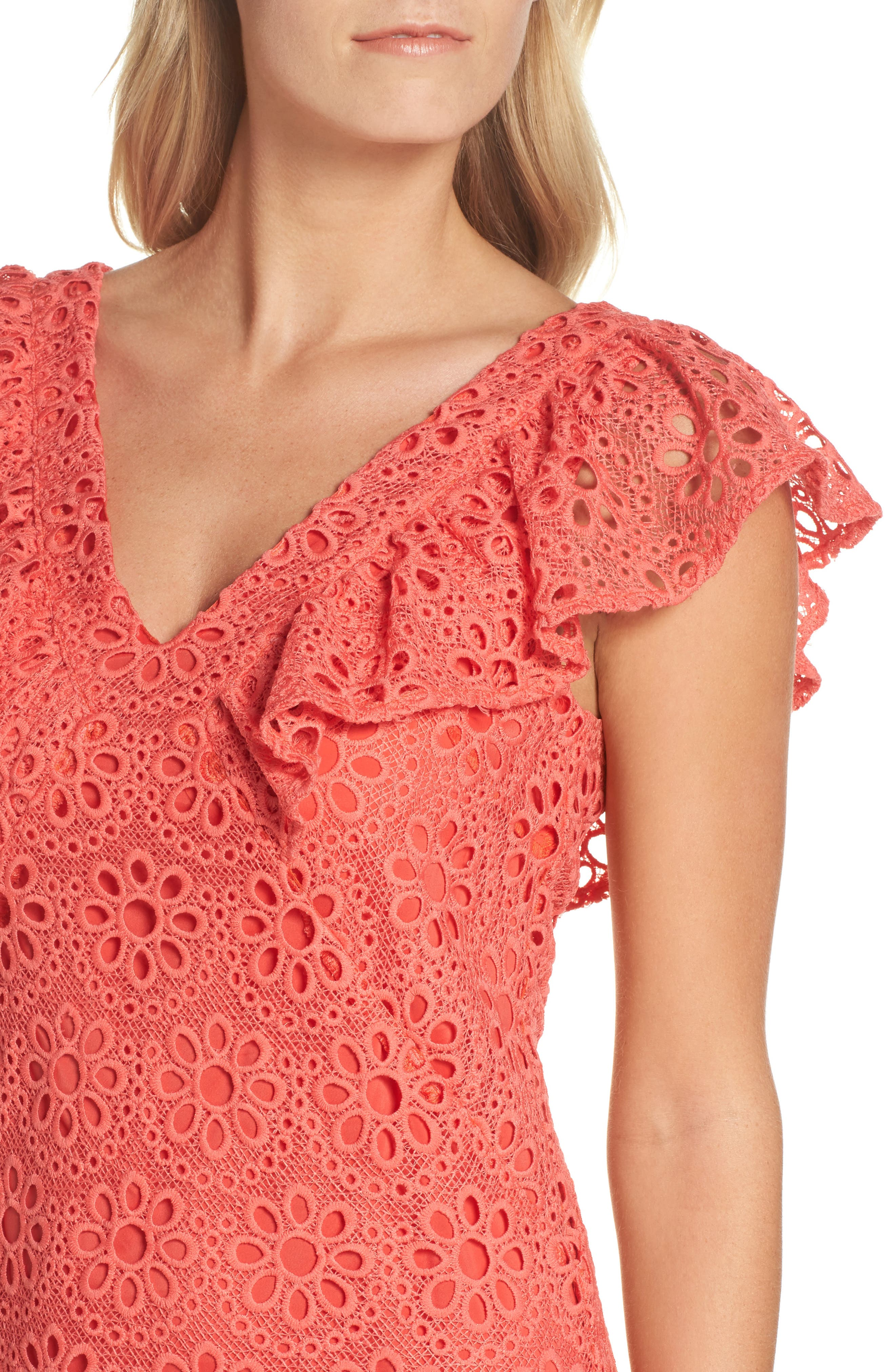 Neriah Eyelet Embroidered Dress,                             Alternate thumbnail 4, color,                             CORAL LILLY